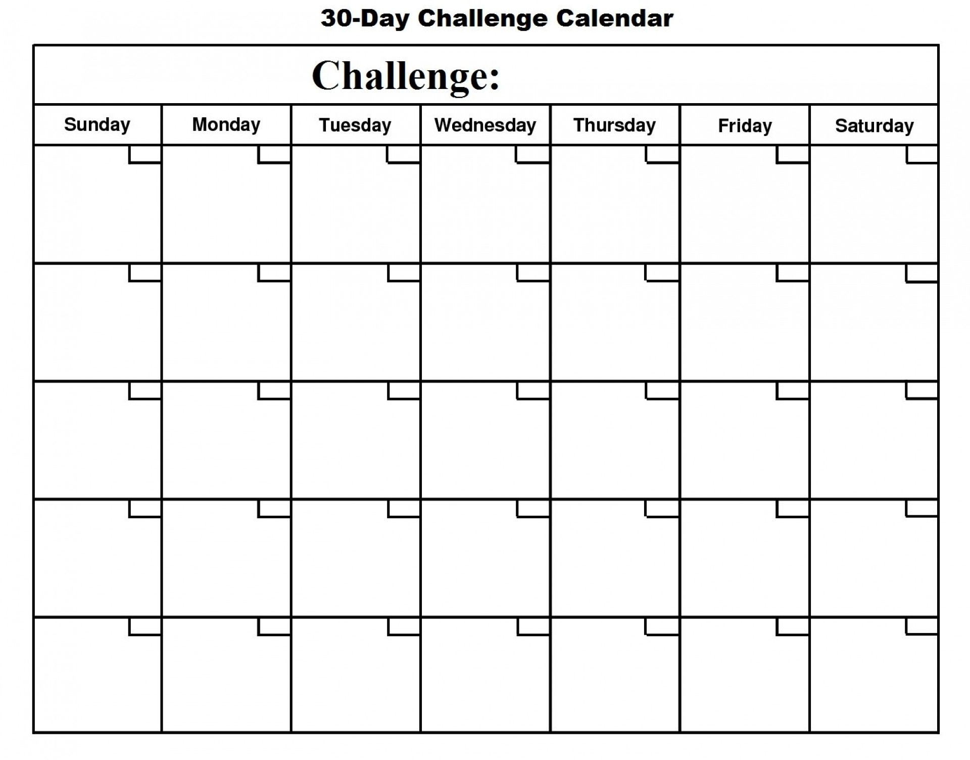 002 Day Challenge Calendar Template Ideas Stupendous 30 within Blank 30 Day Challenge Calendar