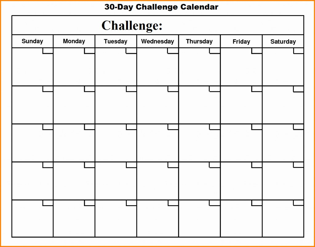 004 Day Challenge Calendar Template Ideas Printable pertaining to Blank 30 Day Challenge Calendar