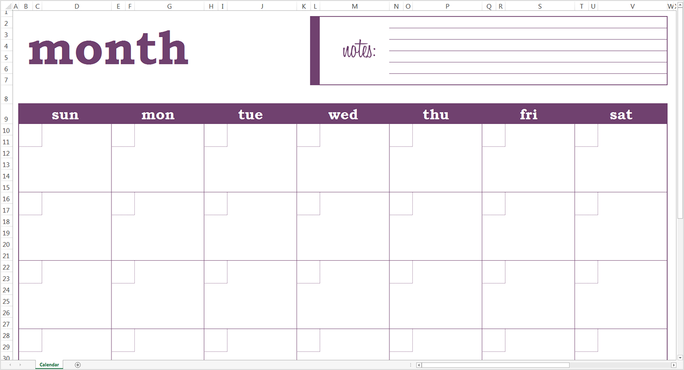 005 Blank Monthly Calendar Template Bmc Purple with regard to Blank Monthly Calender