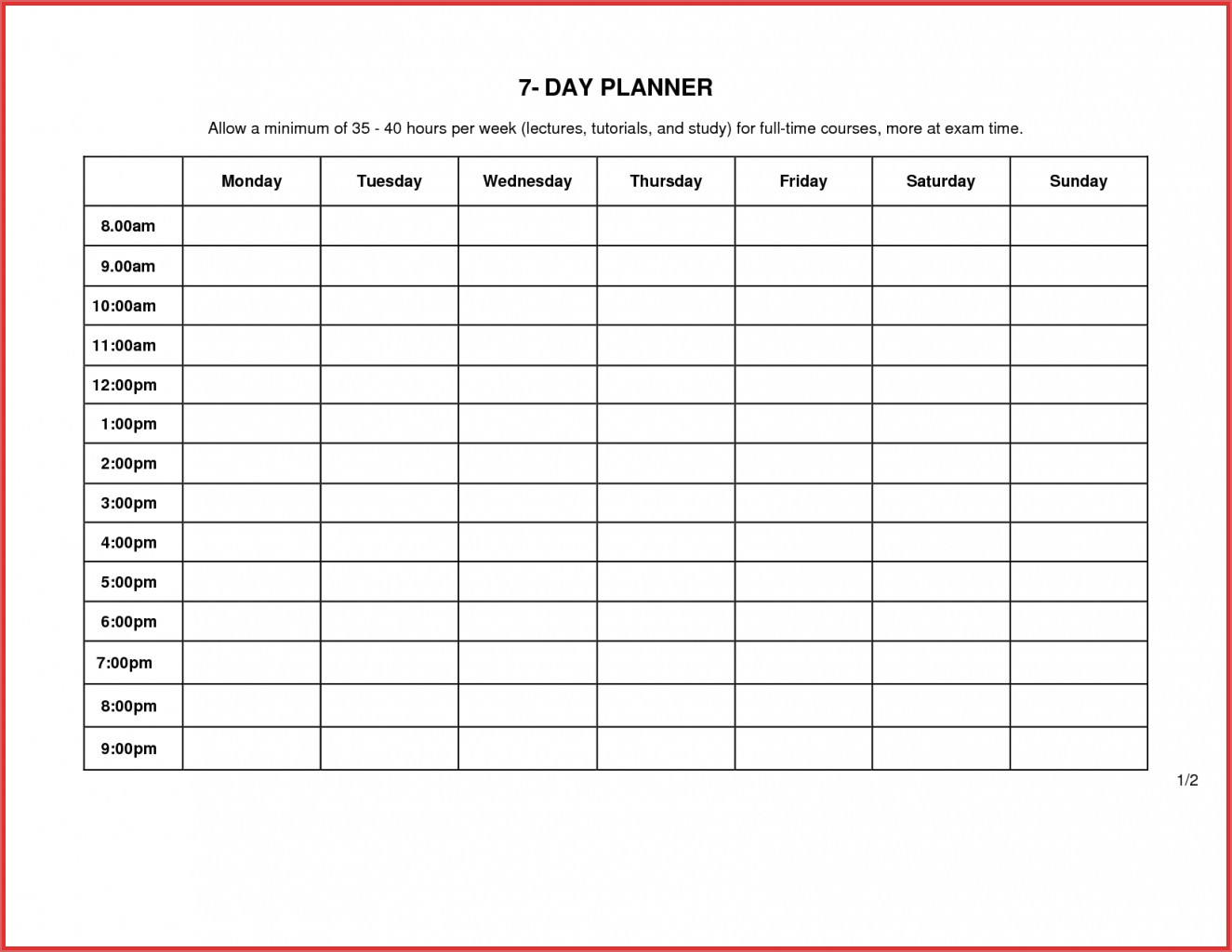 012 Day Calendar Template Ideas Weekly Planner Printable for 7 Day Weekly Calendar Template