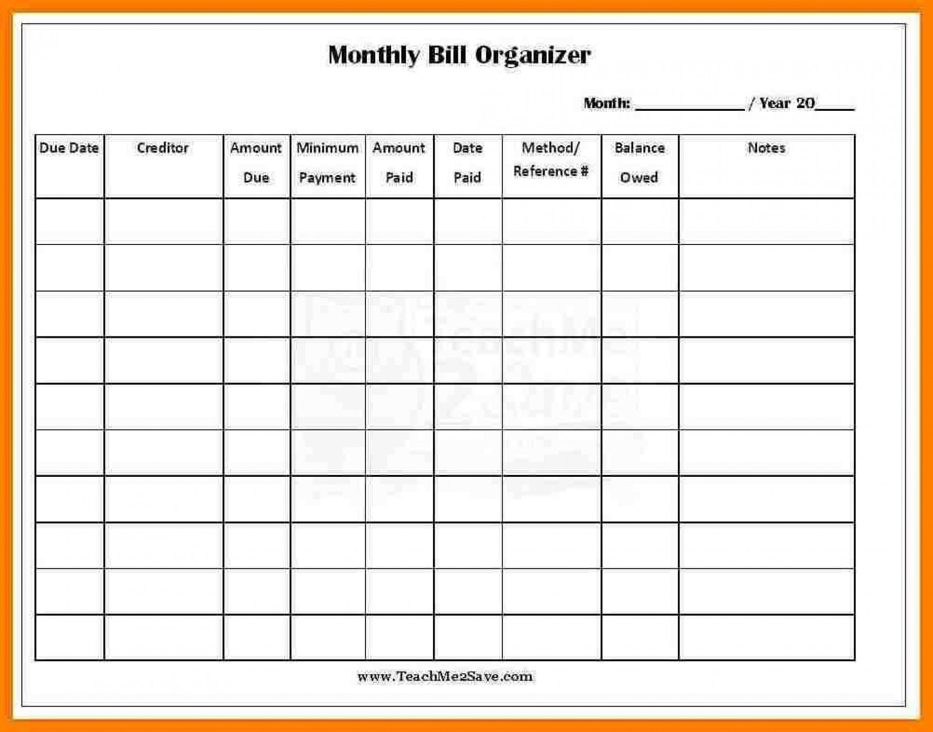 013 Template Ideas Monthly Bill Organizer Excel Free in Monthly Bill Payment Log Excel
