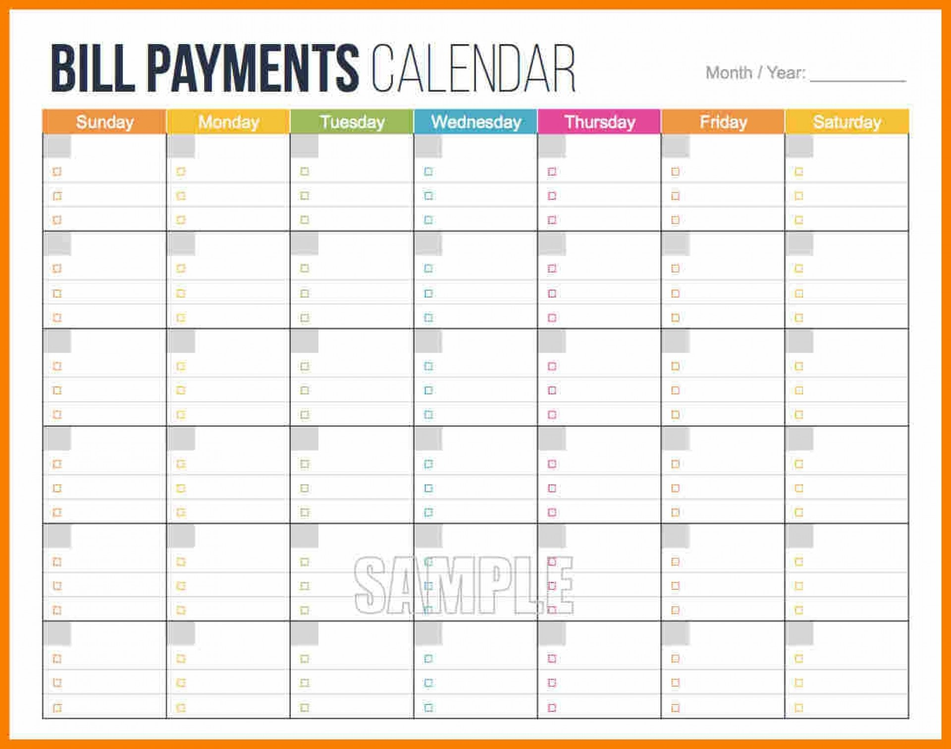 015 Bill Payment Schedule Template Mockup Rare Ideas Monthly within Free Printable Bill Payment Schedule