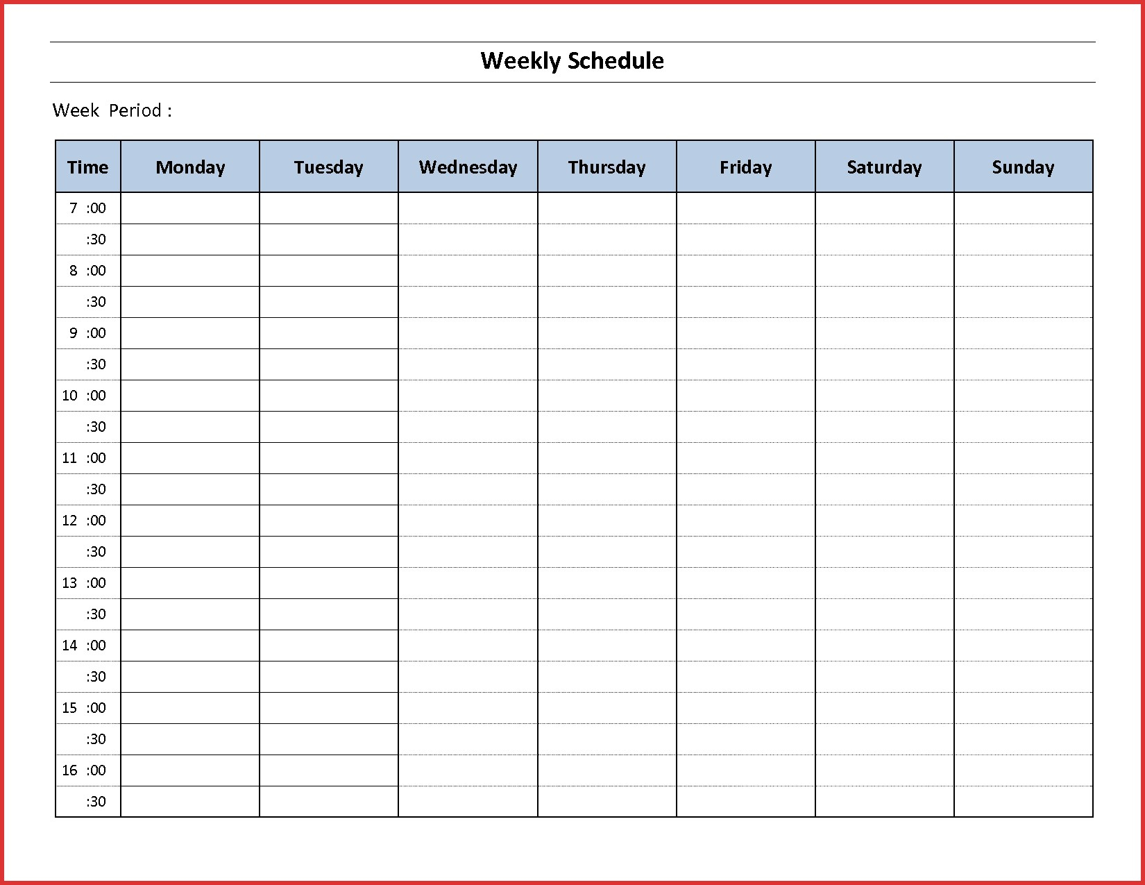 017 Template Ideas Weekly Hourly Schedule Hour Excel within Hourly Weekly Schedule Pdf