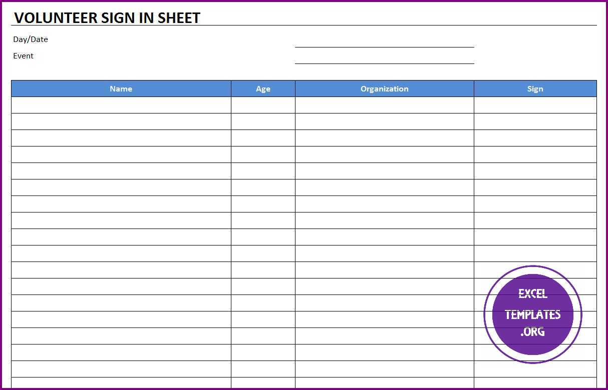 017 Volunteer Sign Up Sheet Templates In Template2 Template with regard to Printable Children's Church Sign In Sheet Template