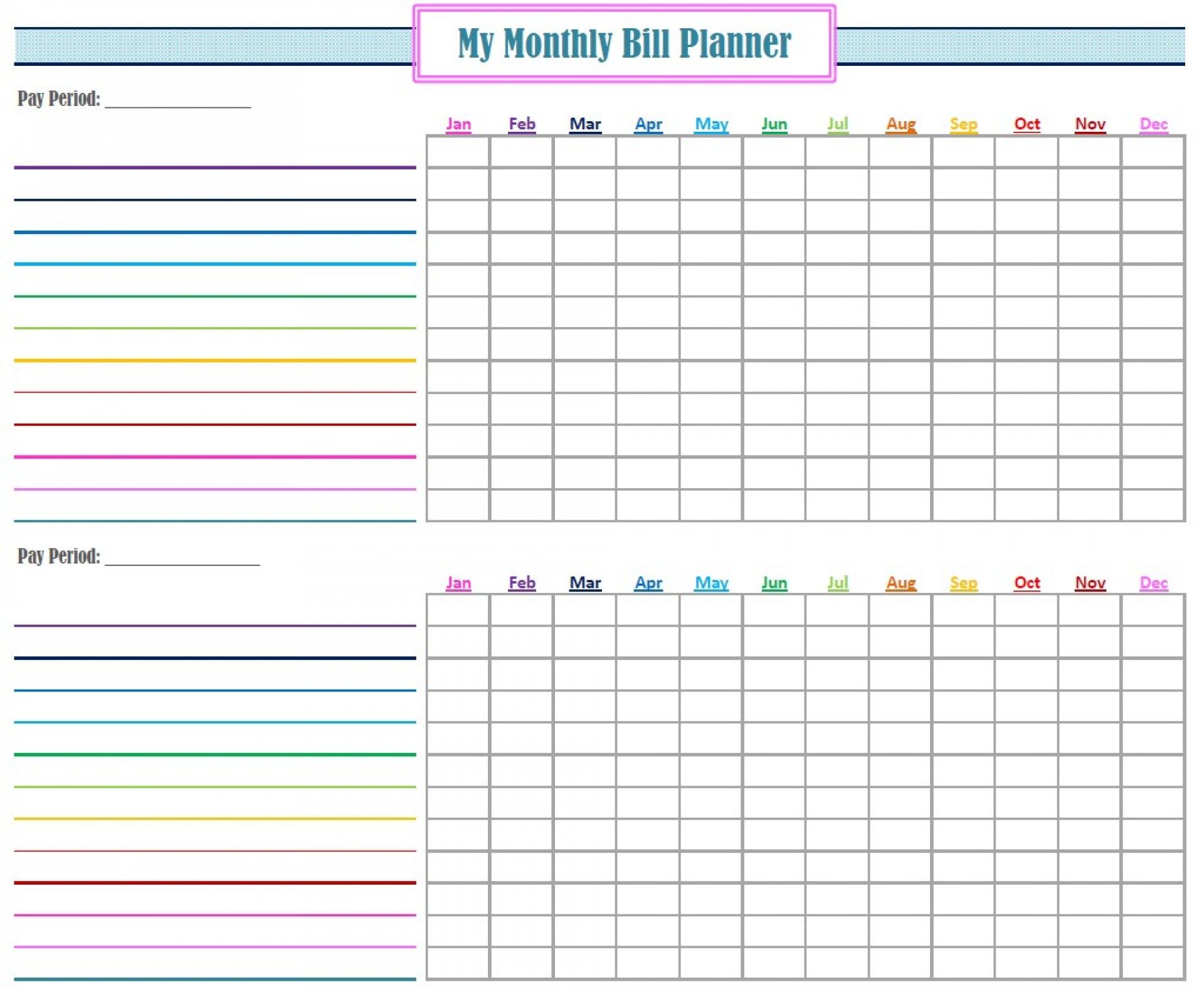 021 Template Ideas Printable Bill Organizer Spreadsheet with regard to Free Printable Bill Payment Calendar