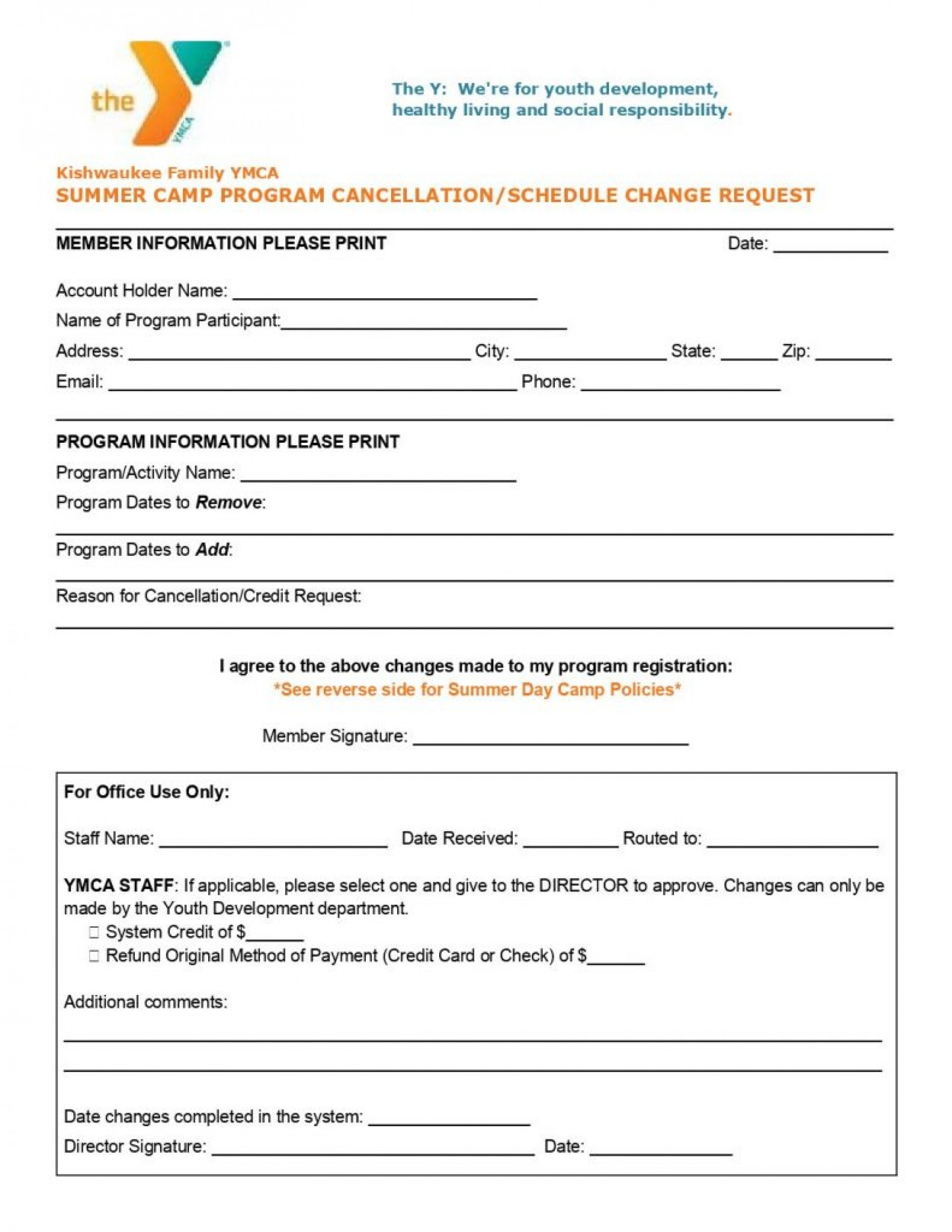 024 Summer Camp Program Cancellation Schedule Change Request pertaining to Summer Camp Schedule Template