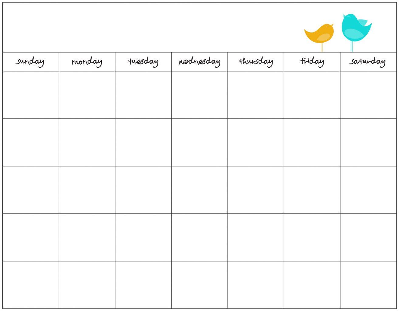 027 Template Ideas Free Printable Calendar Templates with regard to Blank Sunday Through Saturday Calendar