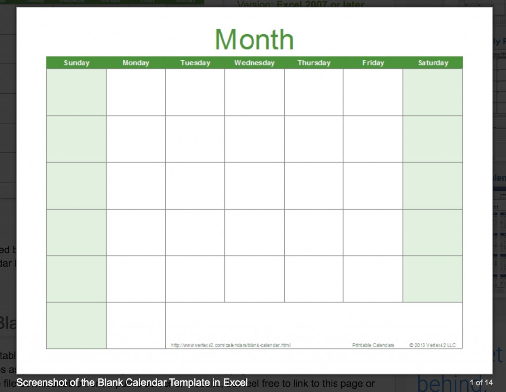 028 Template Ideas Free Excel Calendar Vertex42 Blank for Vertex42 Monthly Calendar