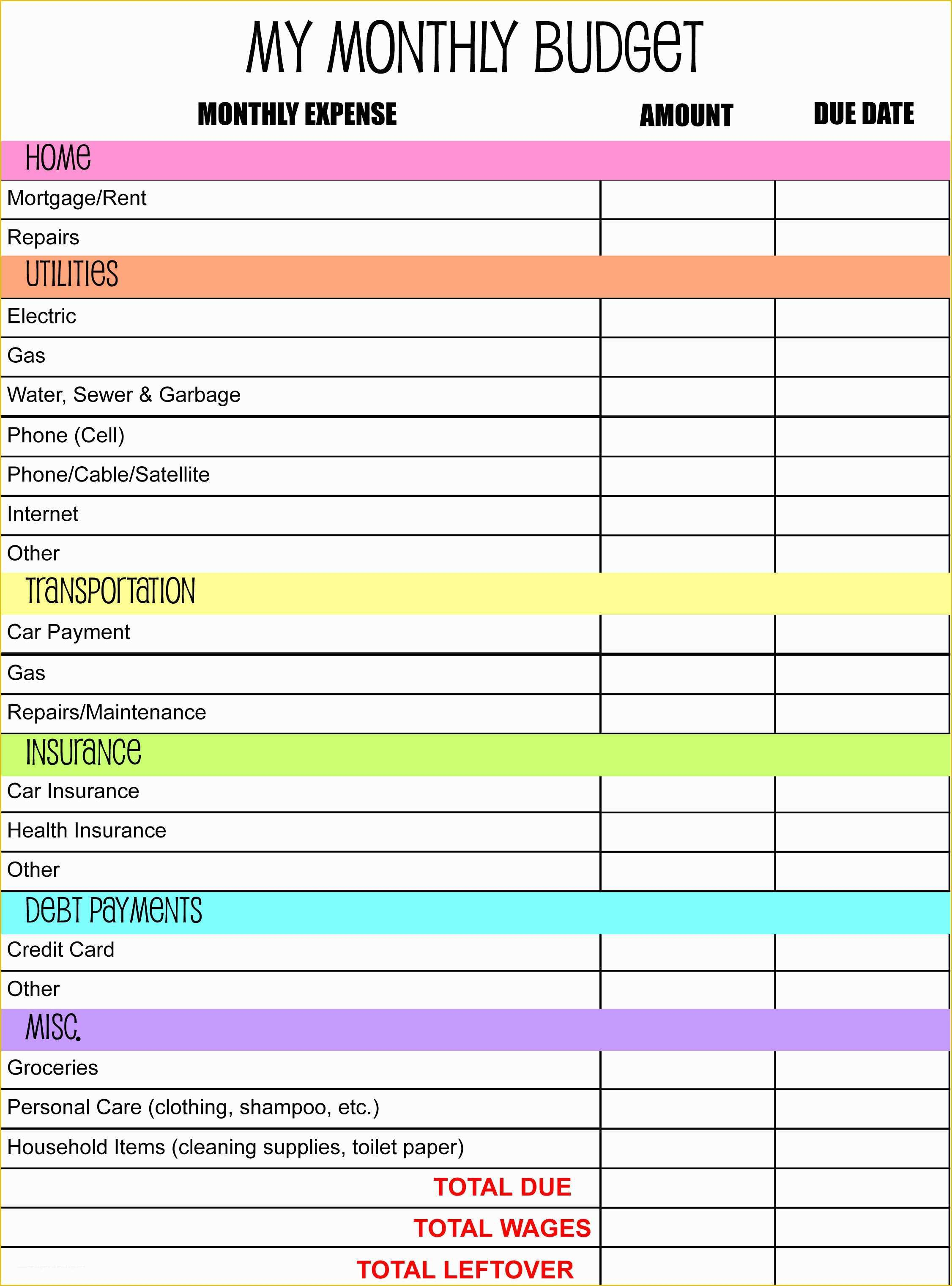 030 Free Downloadable Budget Template Of Bill Organizer in Printable Bill Organizer