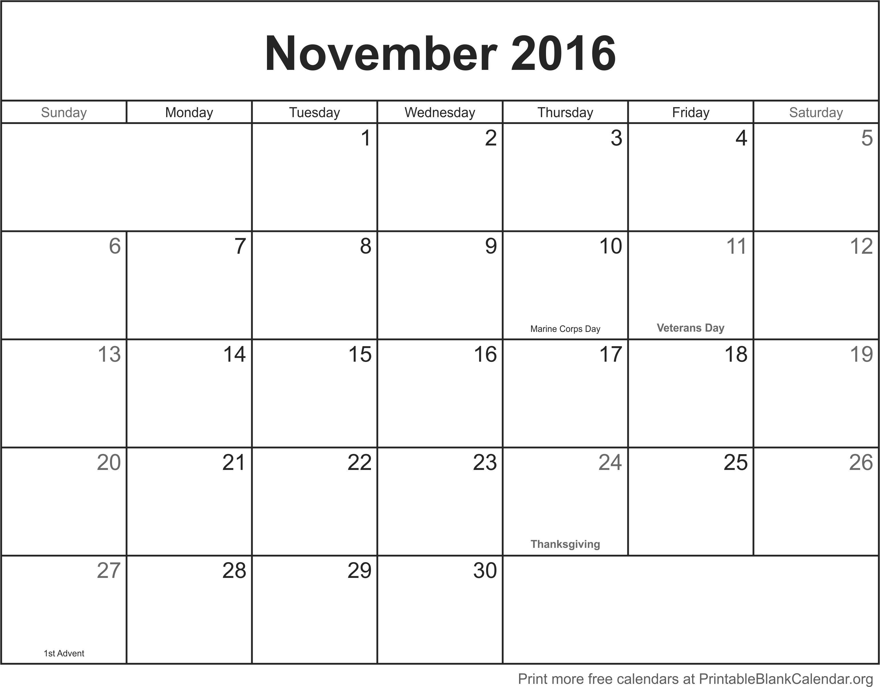 031 November Printable Calendar Template Incredible 2016 pertaining to June 2016 Calendar Printable