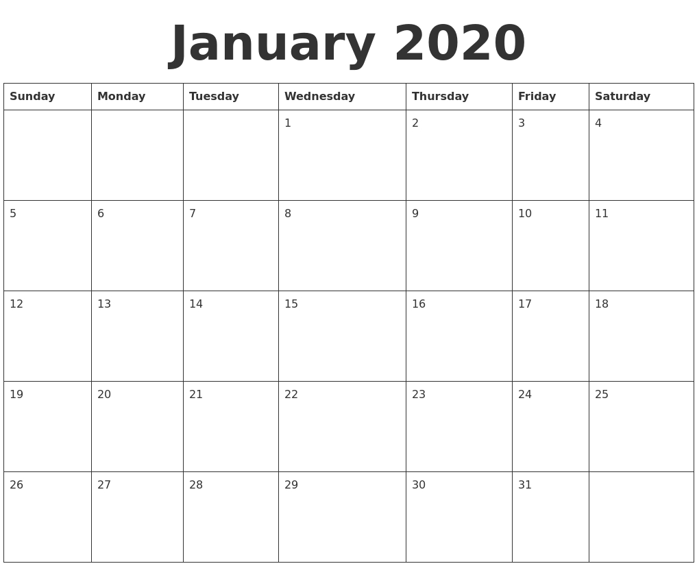 032 Day Calendar Template January Blank Full Weekday Dreaded intended for Blank 31 Day Calendar
