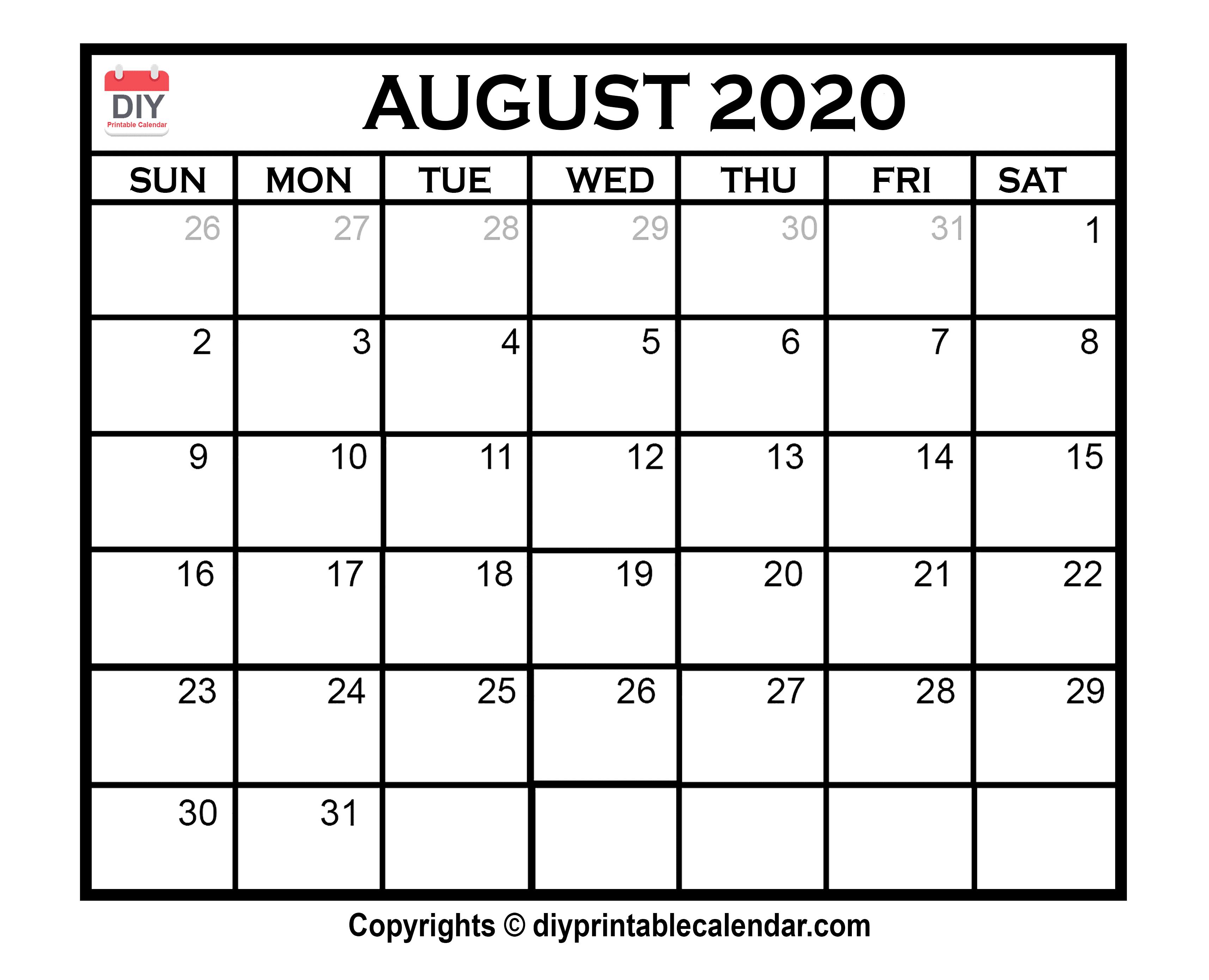 033 Free Blank Calendar Template August Printable Singular intended for August 2020 And September 2020 Calendar