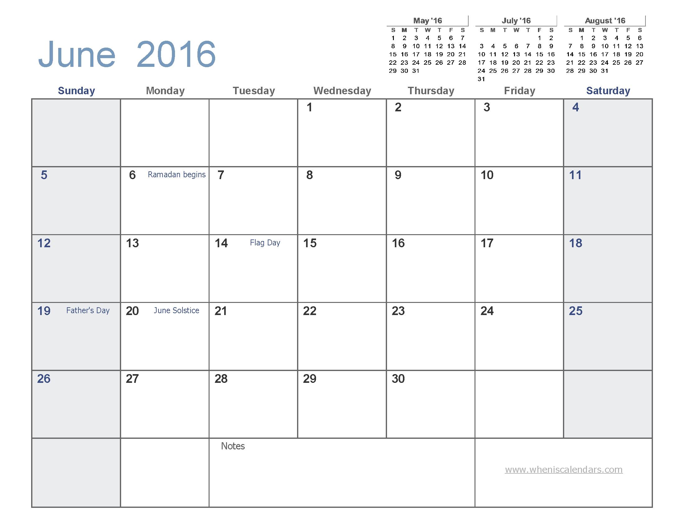 039 June Calendar With Holidays Blank Template July for July 2016 Calendar With Holidays