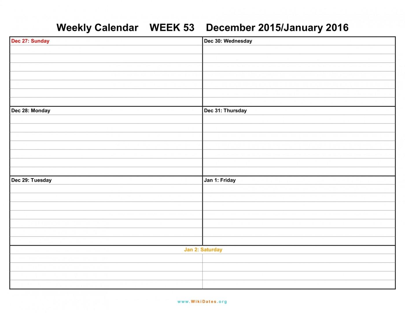 042 Template Ideas Weekly Calendar Print Blank Week Top 2016 in Blank Weekly Calender