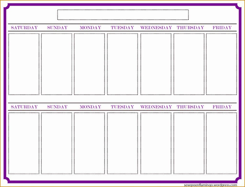 042 Week Printable Calendar Free Blank Printing 25Nhzqjr inside Printable Two Week Calendar Template
