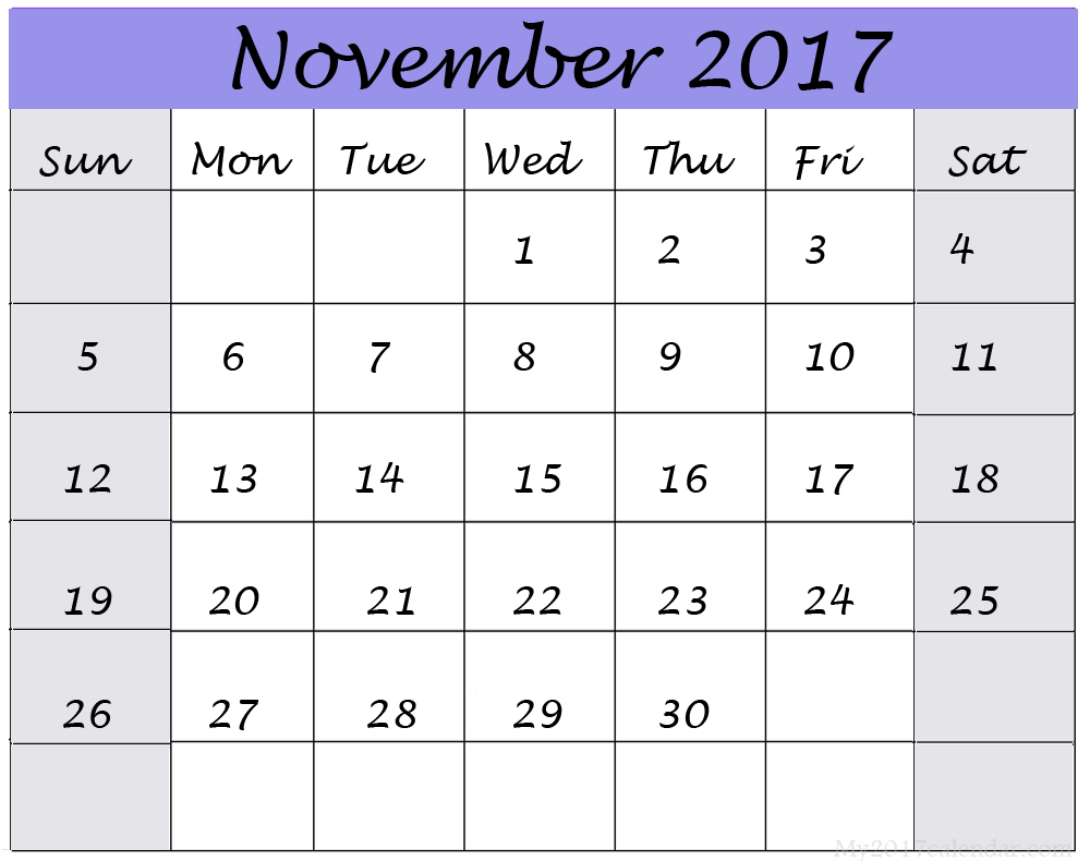 10 November 2017 Calendars | Print Blank Calendars pertaining to December 2017 Calendar Printable