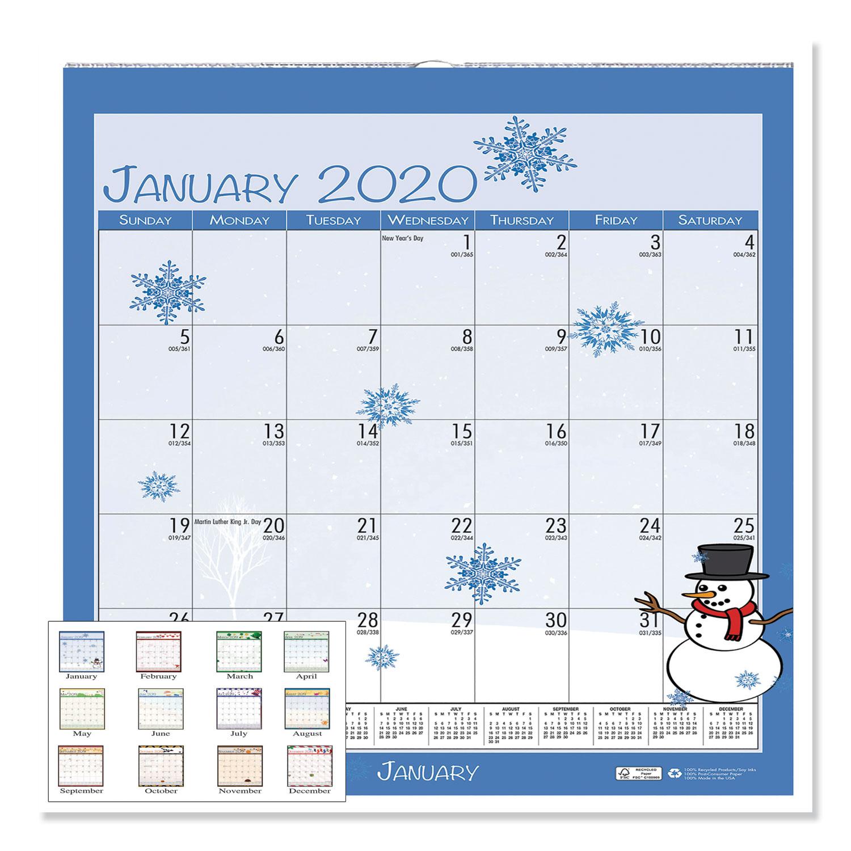 100% Recycled Seasonal Wall Calendar, 12 X 12, 2020  Mason throughout 12X12 Calendar Holder