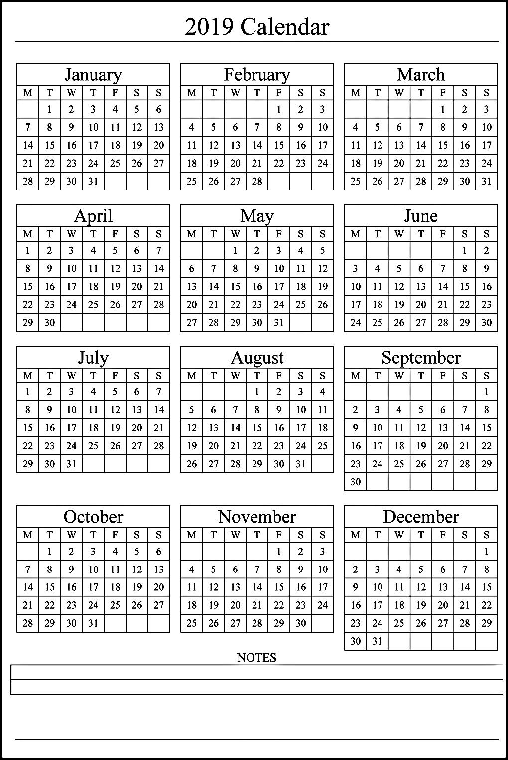 12 Month Calendar On One Page #2019Calendar within Printable 12 Month Calendar On One Page