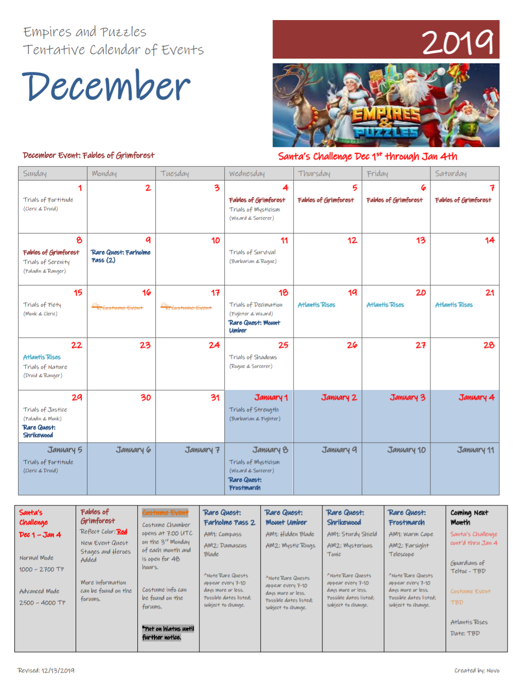 12132019 Revised Calendar In Lieu Of Recent Announcements within Calendar Empires And Puzzles