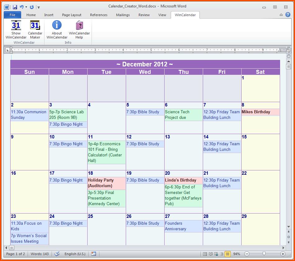 14+ Calendar Template Microsoft Word   Survey Template Words with regard to Word Calendar Creator