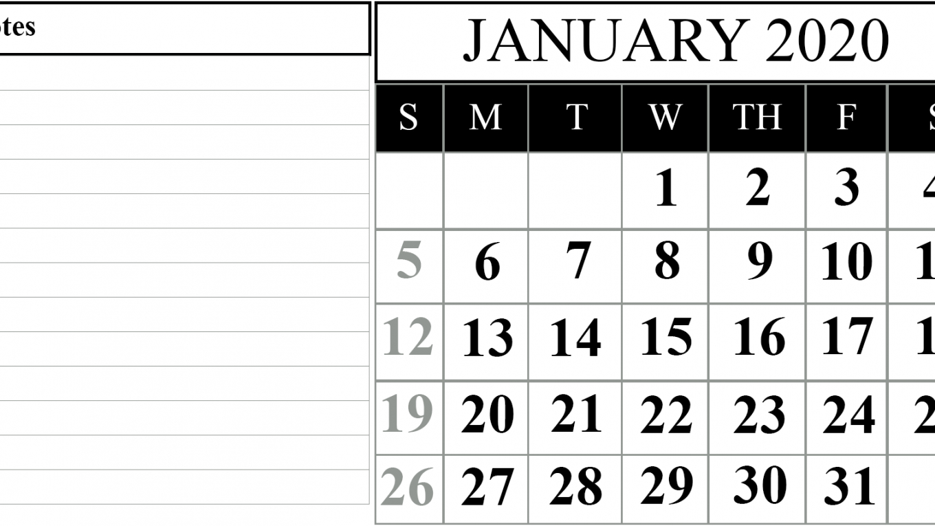 15+ Free Blank January 2020 Fillable Calendar Template To with regard to Blank Fillable Calendar