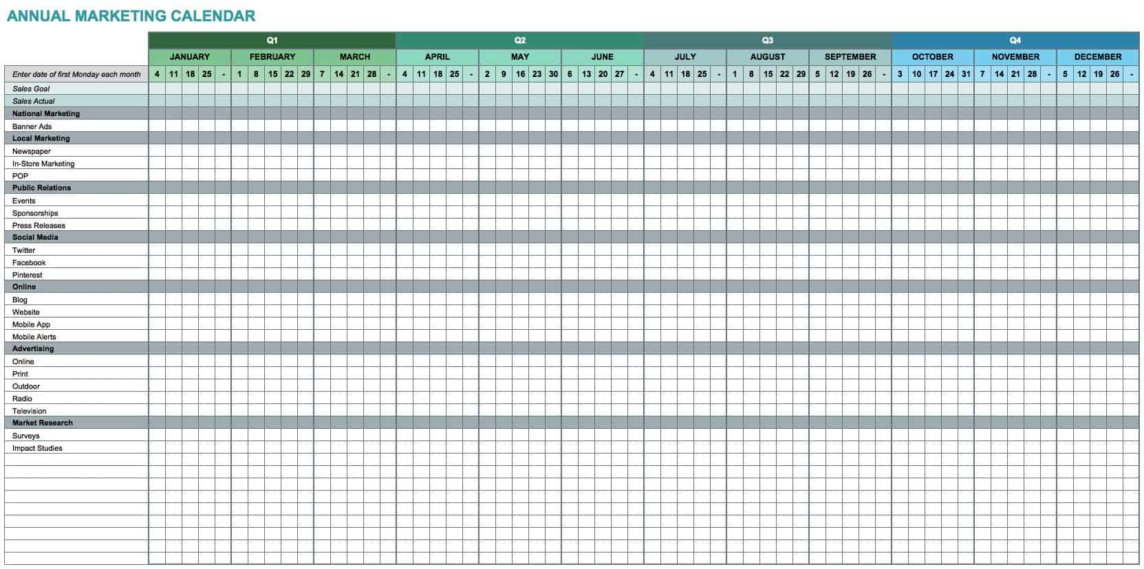 15+ Free Marketing Calendar Templates | Smartsheet intended for Calendar Excel Template