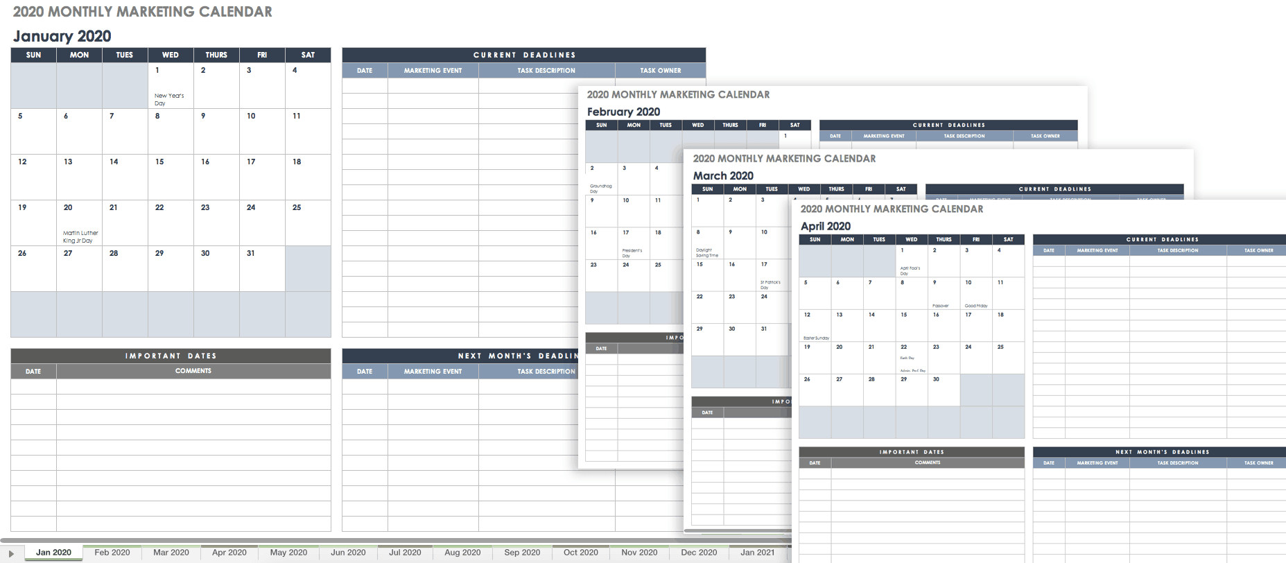 15+ Free Marketing Calendar Templates | Smartsheet with Time And Action Calendar Excel Template
