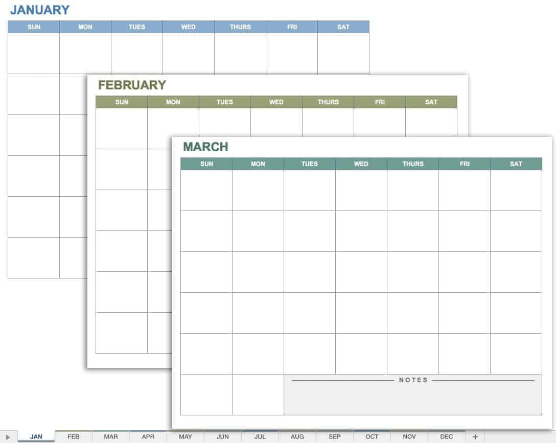 15 Free Monthly Calendar Templates | Smartsheet inside Time And Action Calendar Excel Template