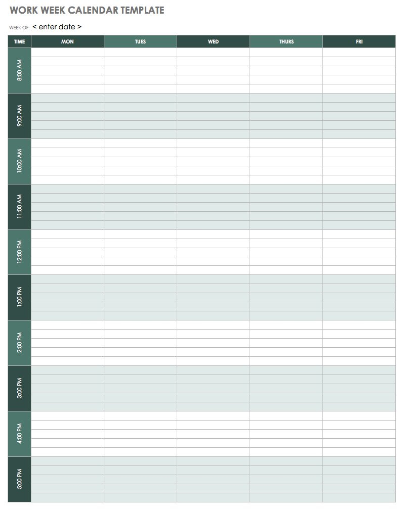 15 Free Weekly Calendar Templates | Smartsheet in Weekday Calendar Printable