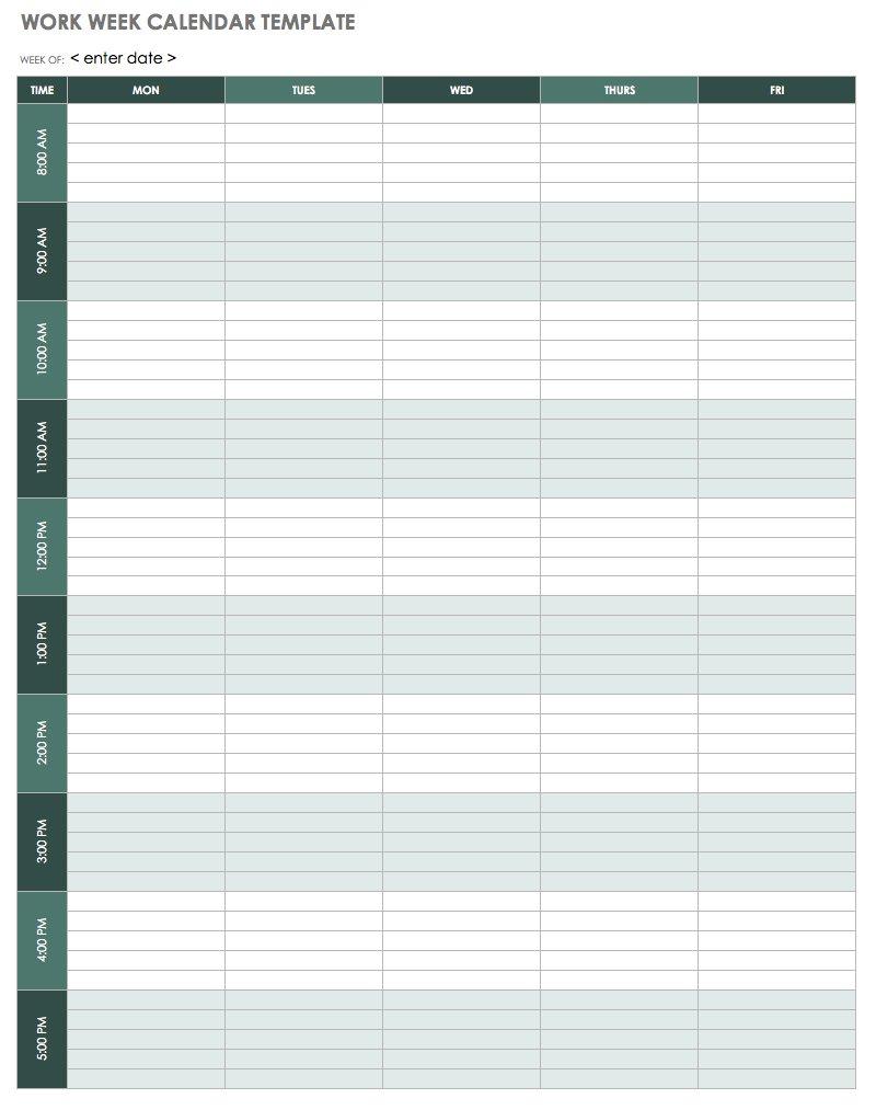15 Free Weekly Calendar Templates   Smartsheet pertaining to 5 Days A Week Planner