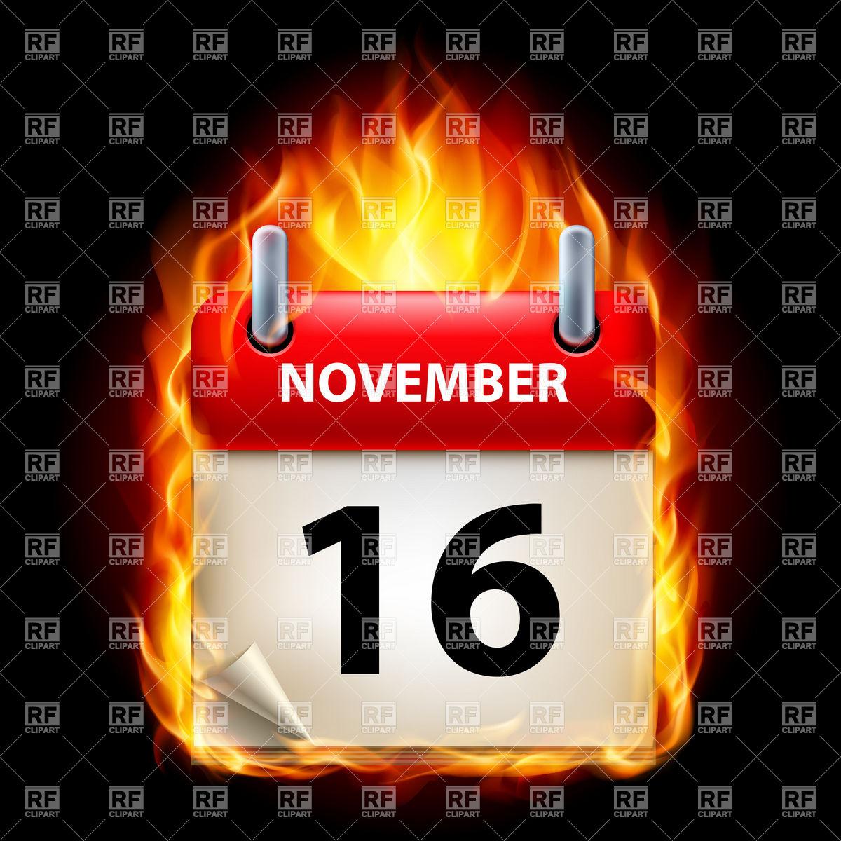 16 Of November In Burning Calendar Icon Stock Vector Image within November Calendar Clipart Free