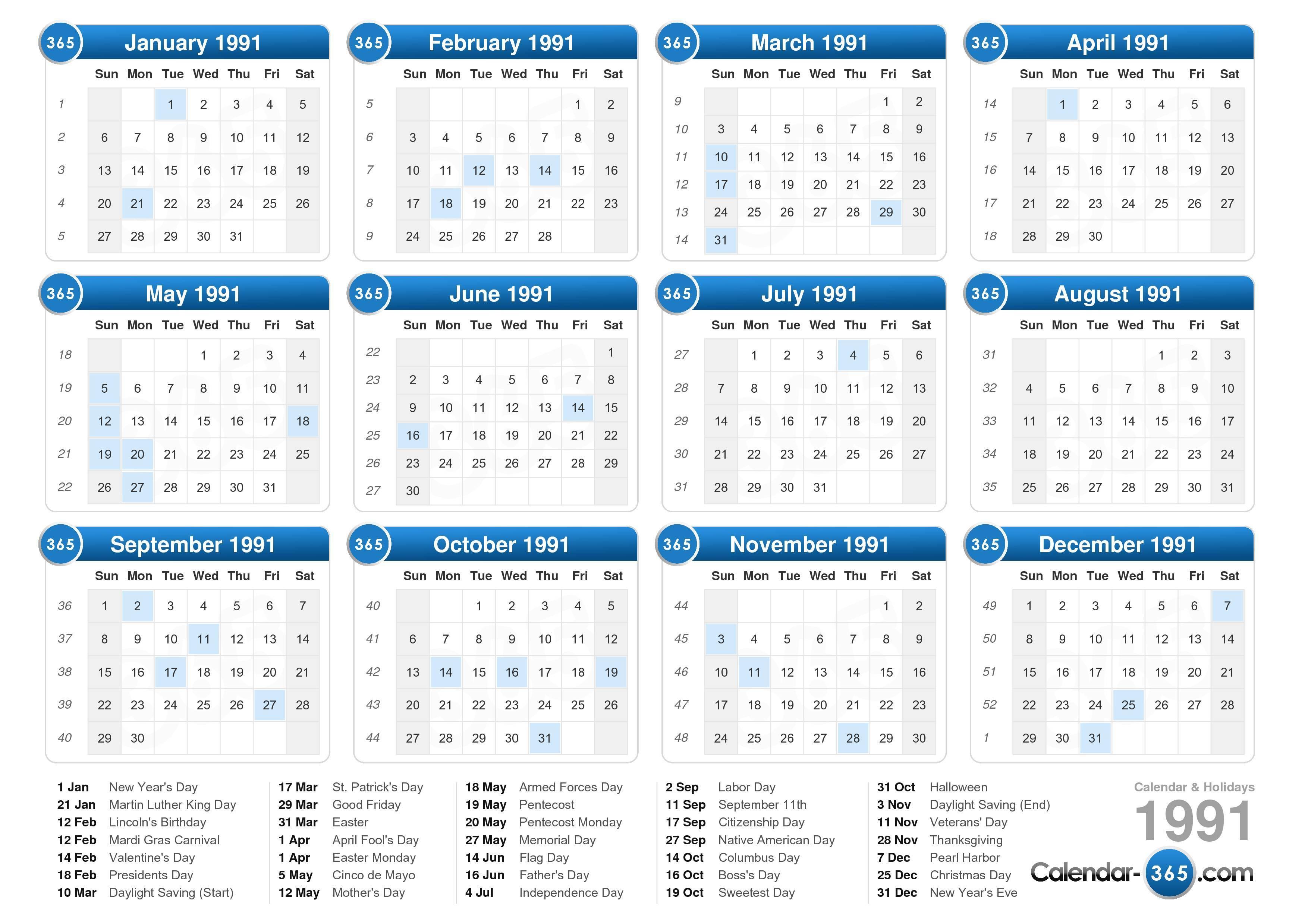 1991 Calendar inside 1991 Calendar Year