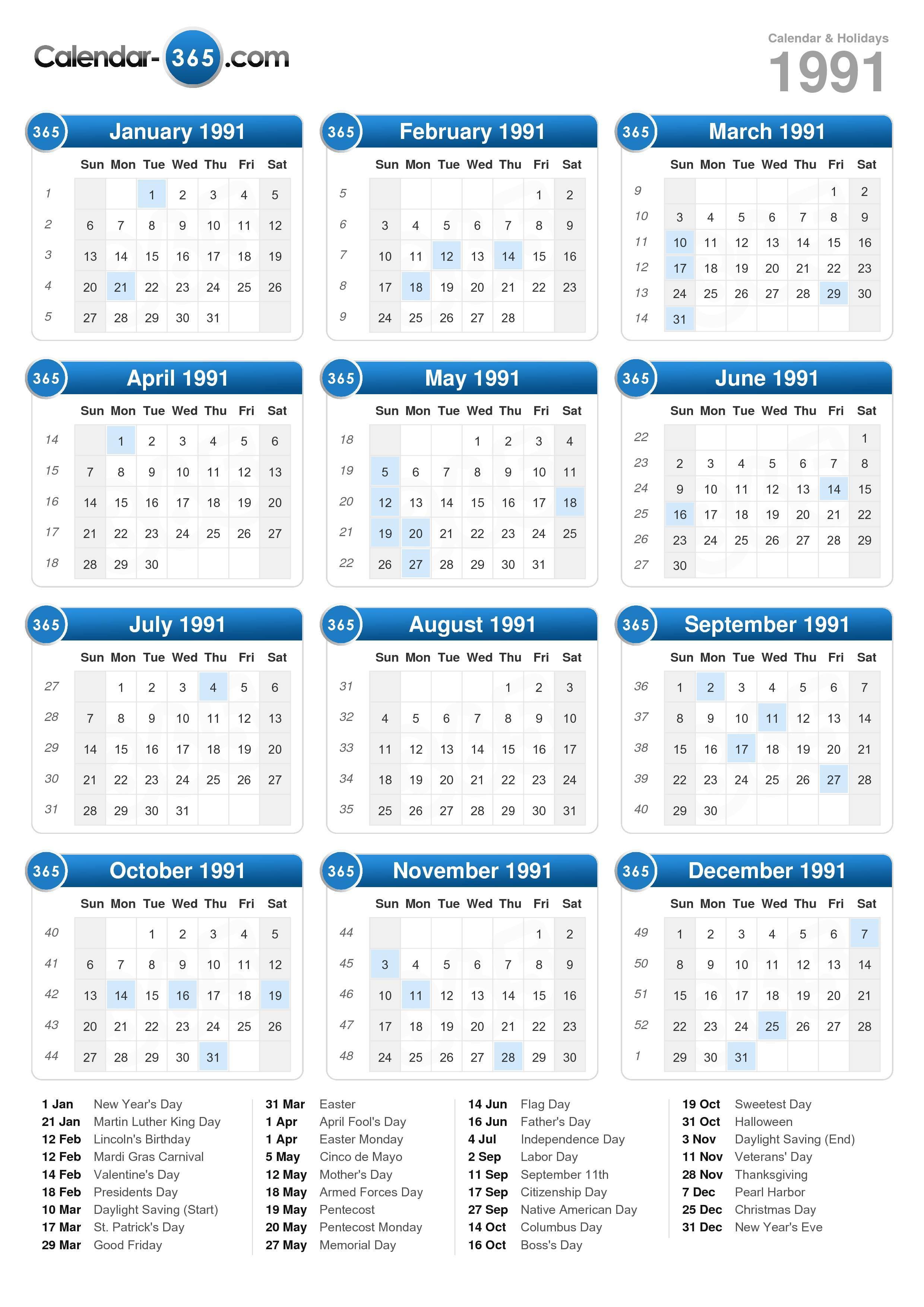 1991 Calendar within 1991 Calendar Year