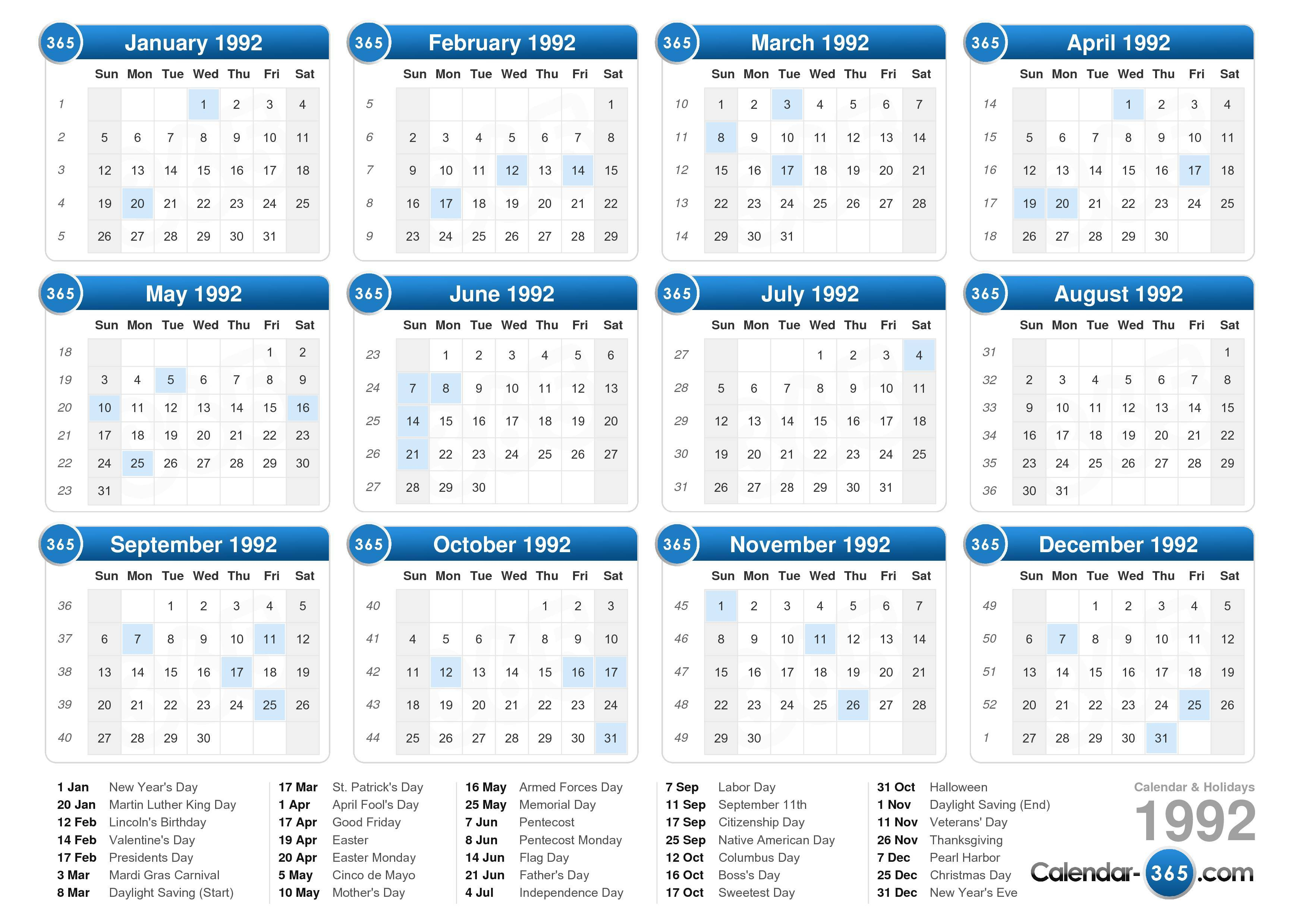1992 Calendar throughout 1993 Kannada Calendar