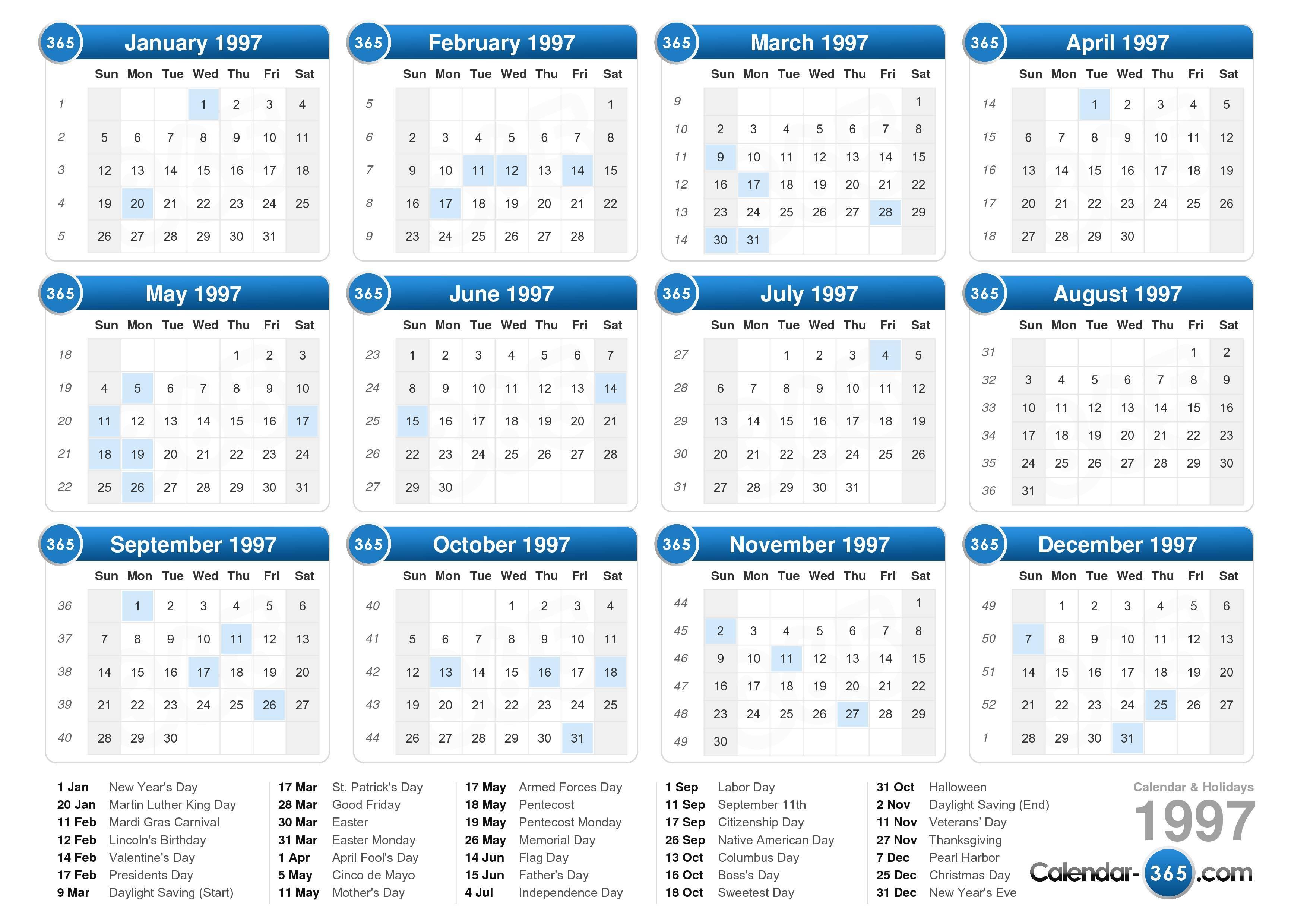 1997 Calendar inside 1998 Calendar With Festivals