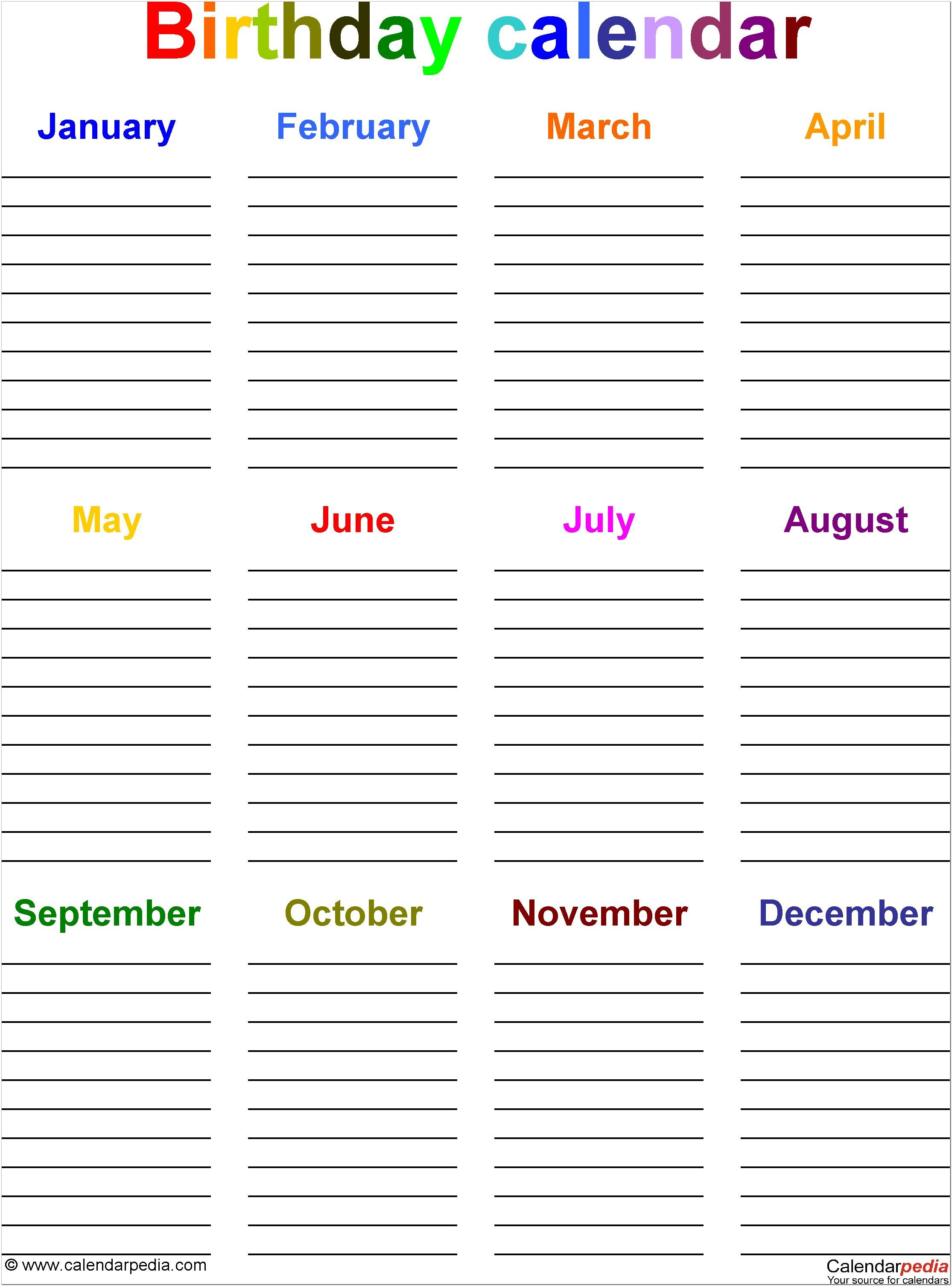 1St Birthday Printable Invitations Free  Template Designs regarding Blank Birthday Calendar Template