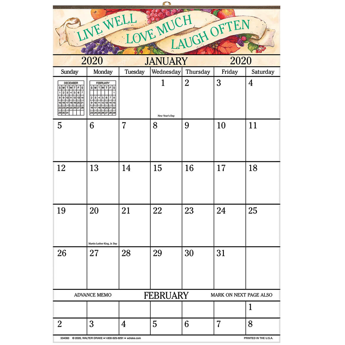 "1Year Large Calendar – 14 14"" X 21 34"" Calendar for Calendar With Large Squares"