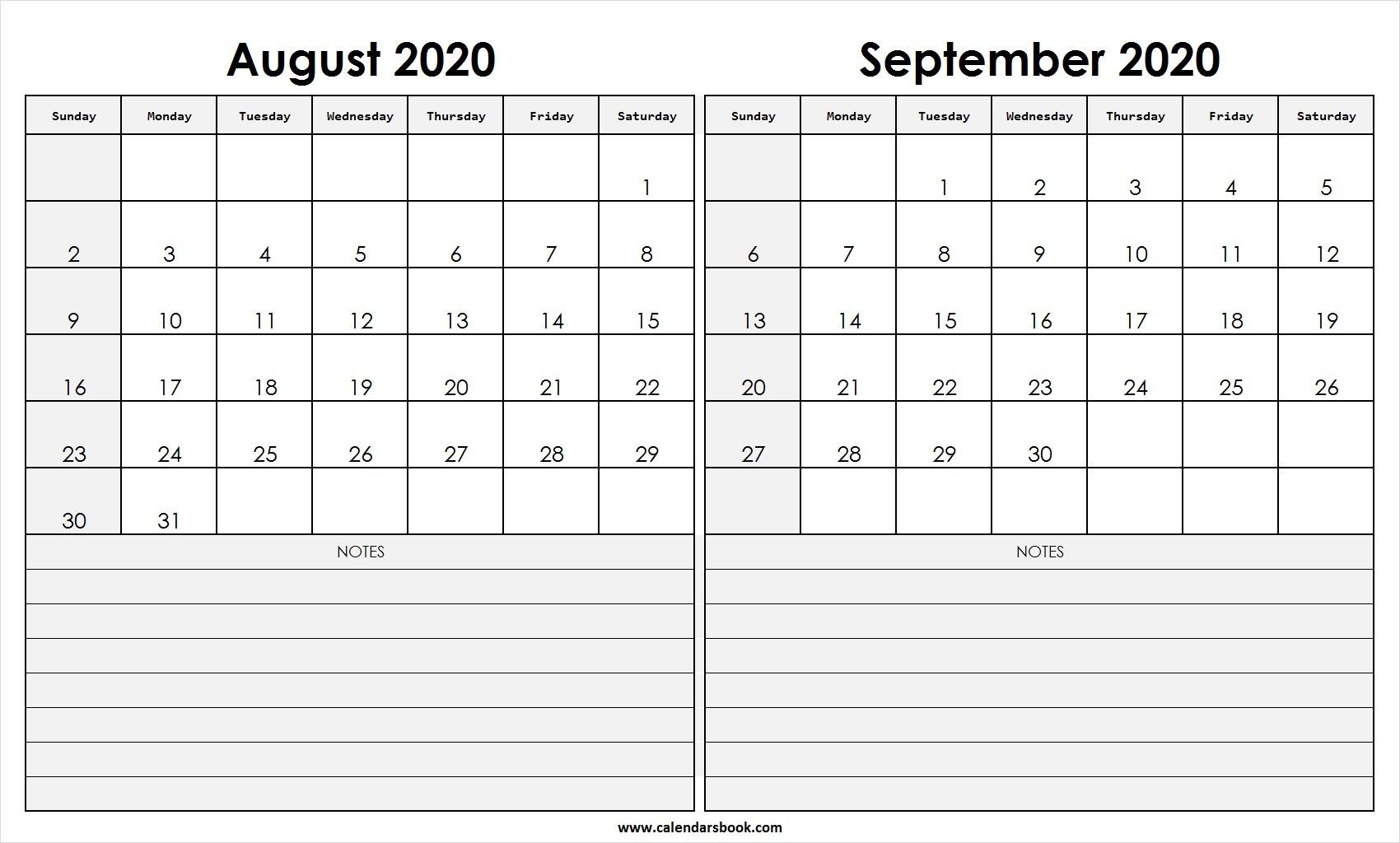 2 Months Calendar August September 2020 | Example Calendar in Calender August And September 2020