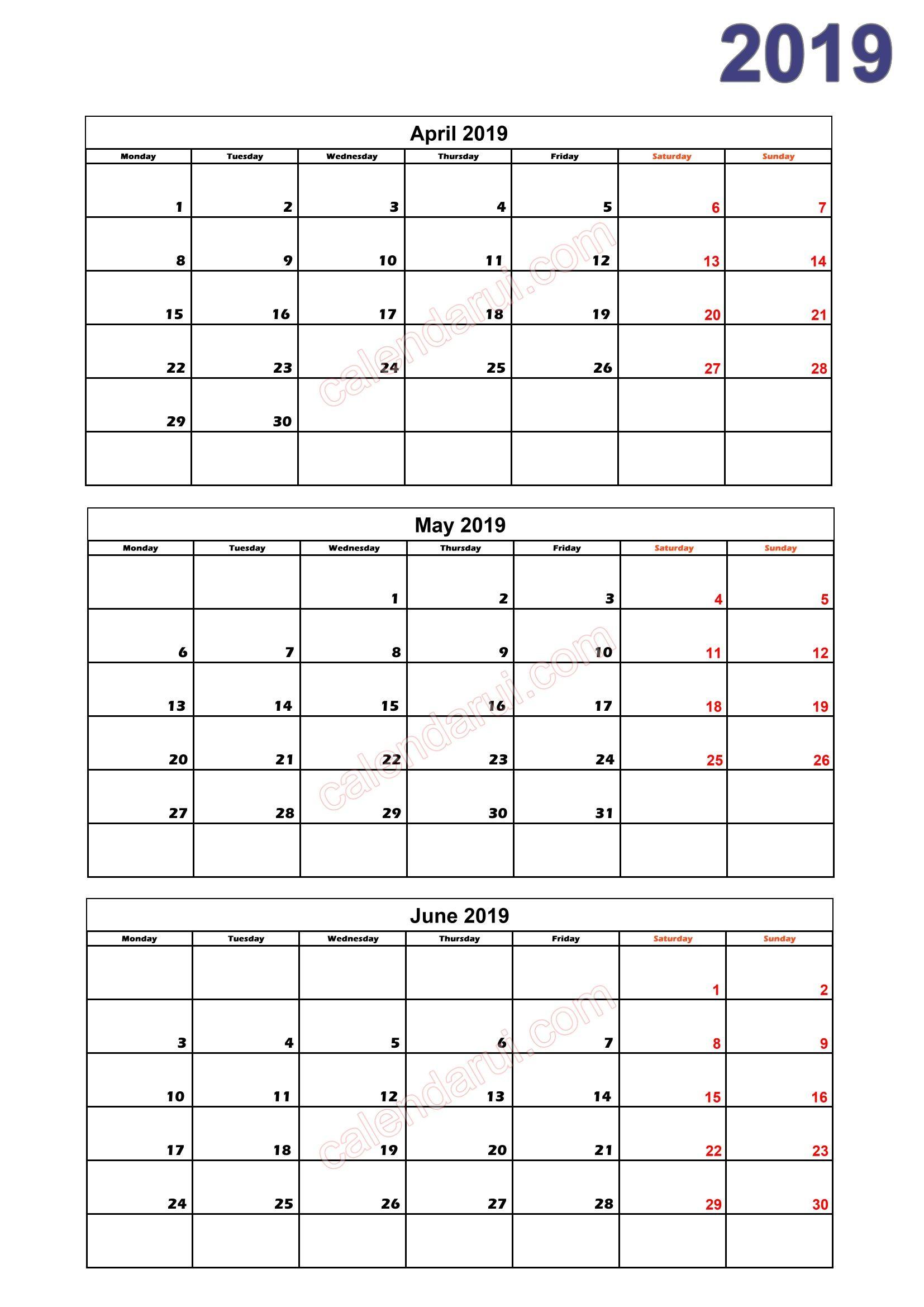 2 Quarter 2 Calendar 2019 Printable Download Free_2 | Free regarding Quarterly Calendar Template Excel