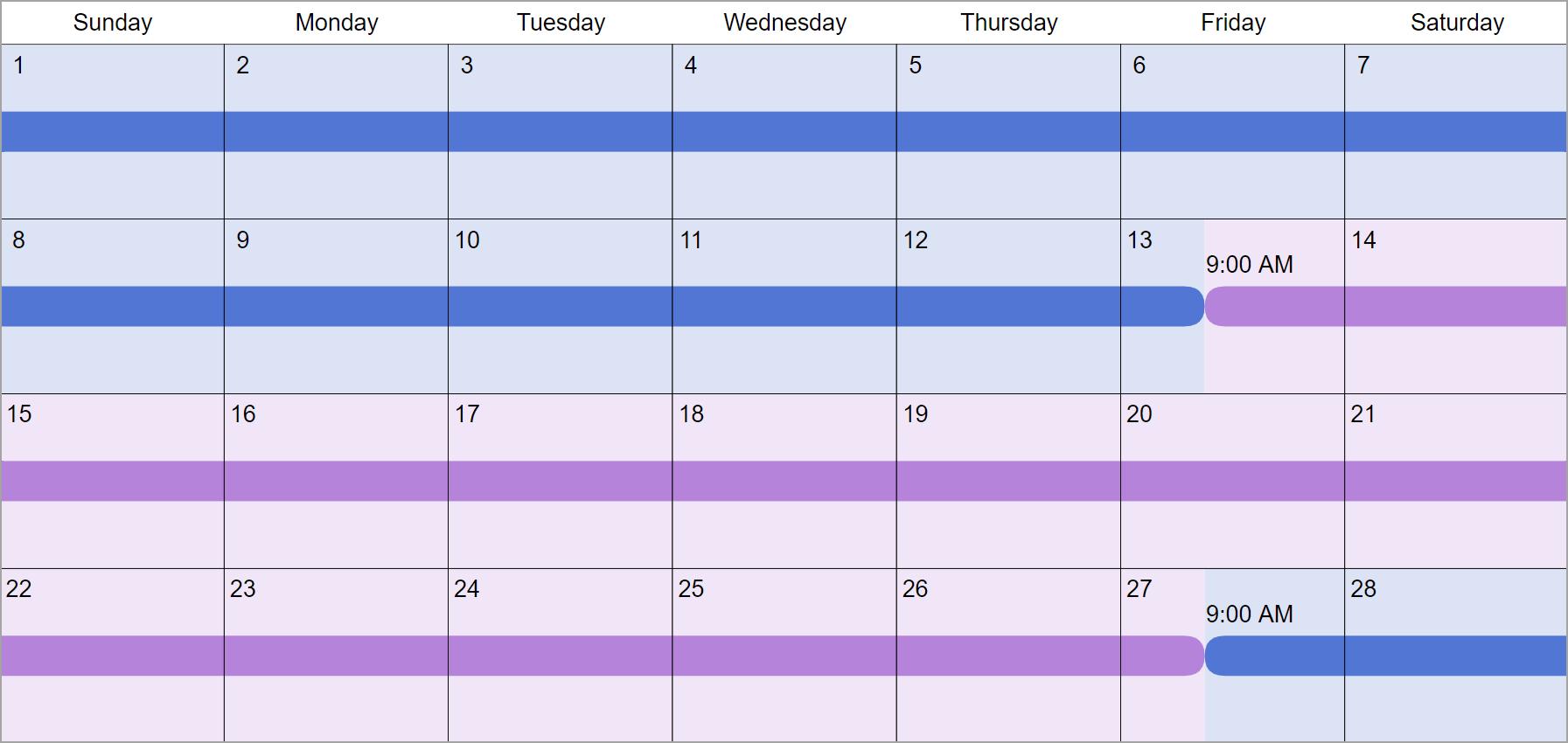 2 Weeks Each Custody & Visitation Schedule Examples: Create for Two Weeks Calendar