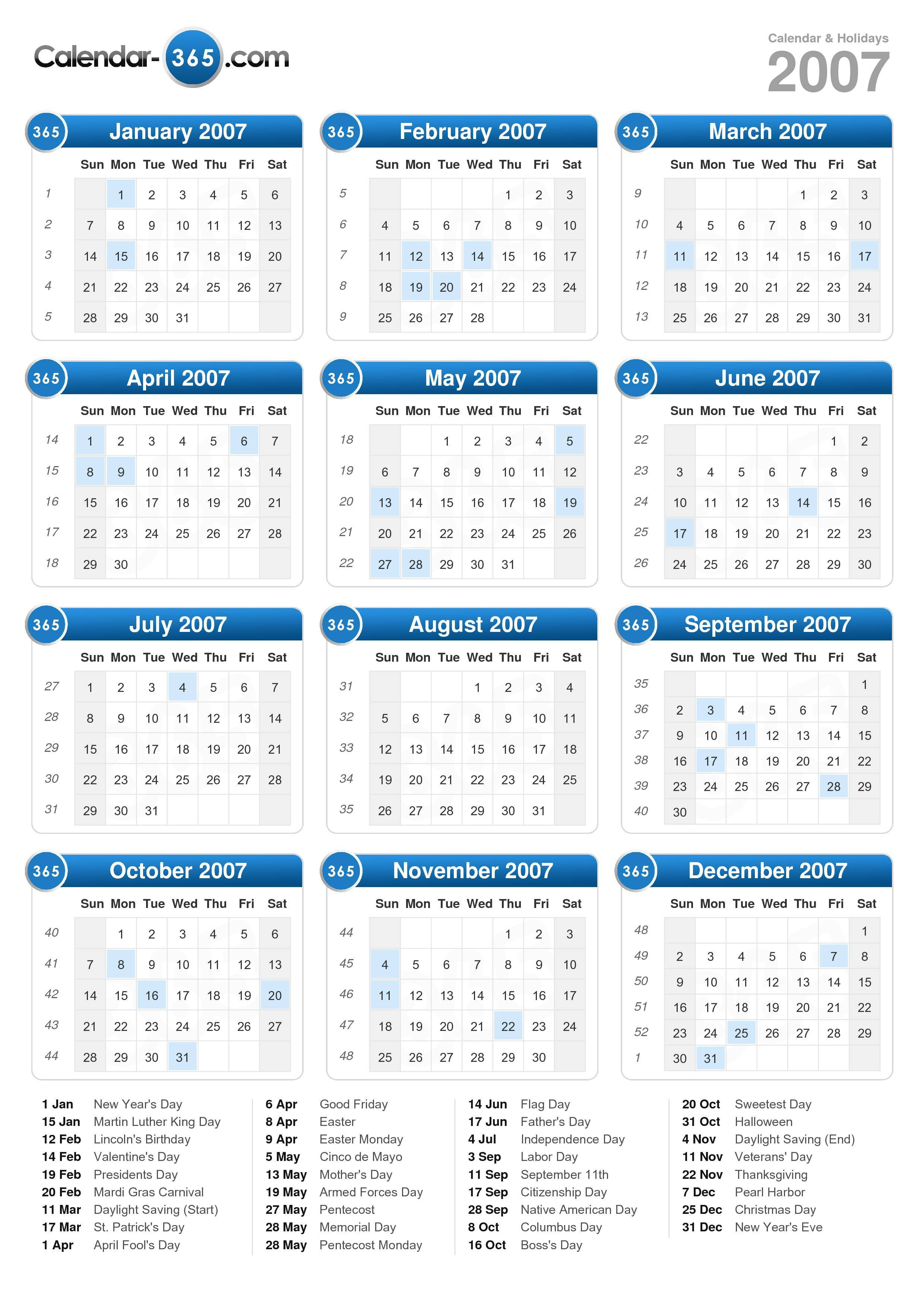 2007 Calendar pertaining to Printable 2007 Calendar