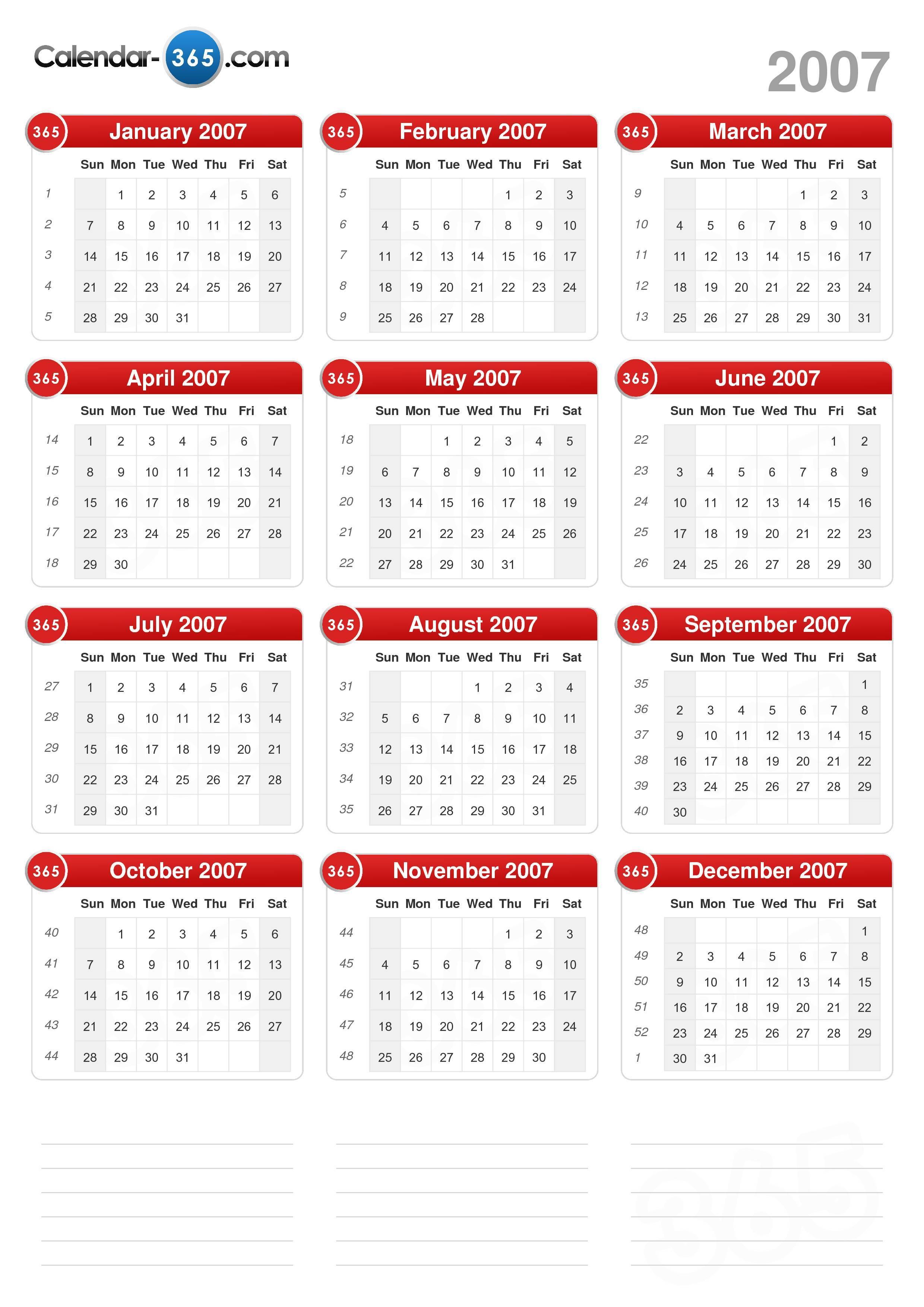 2007 Calendar throughout Printable 2007 Calendar
