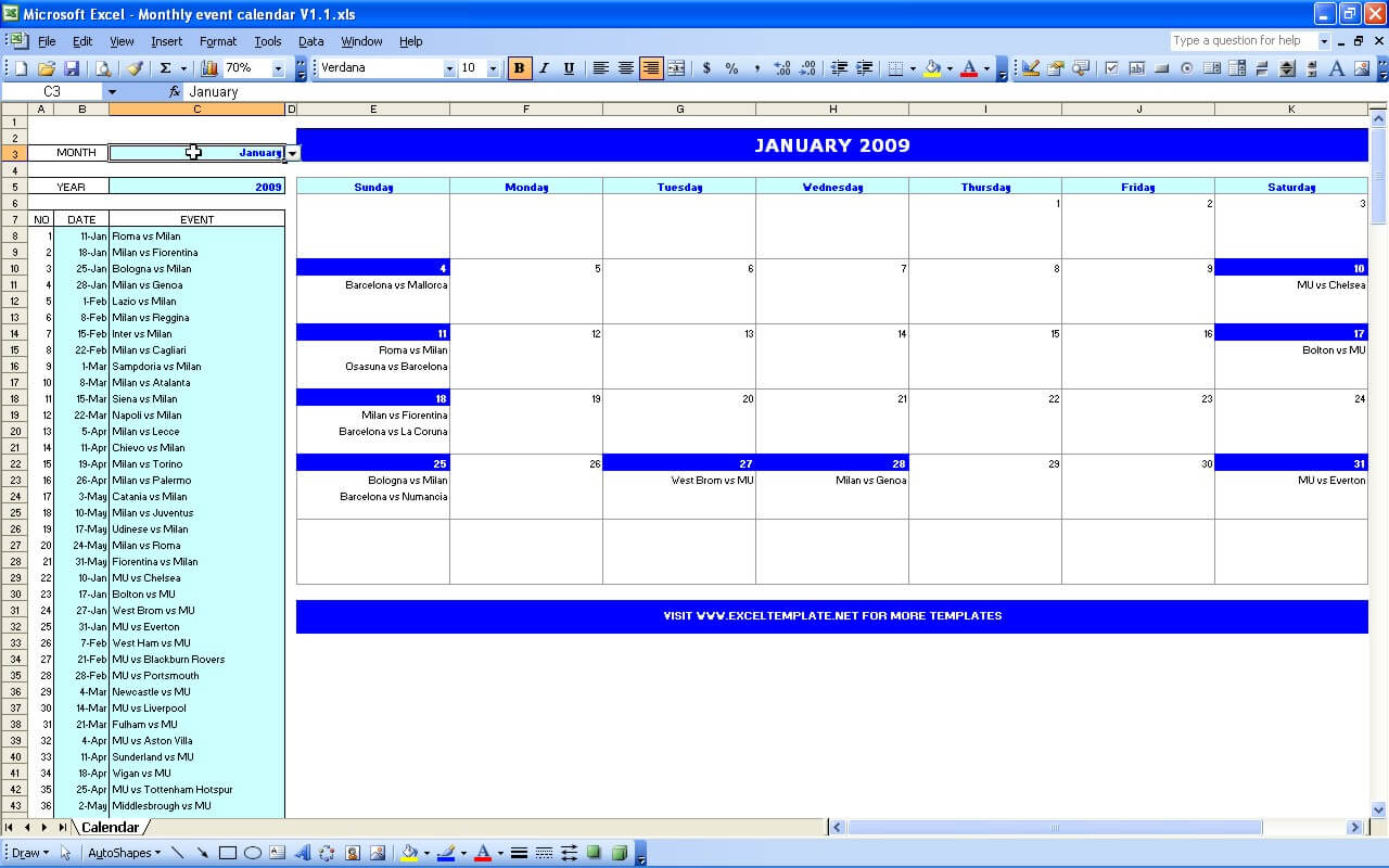 2012 Monthly Calendar Template Xls | Resume Maker: Create throughout Event Calendar Template Excel