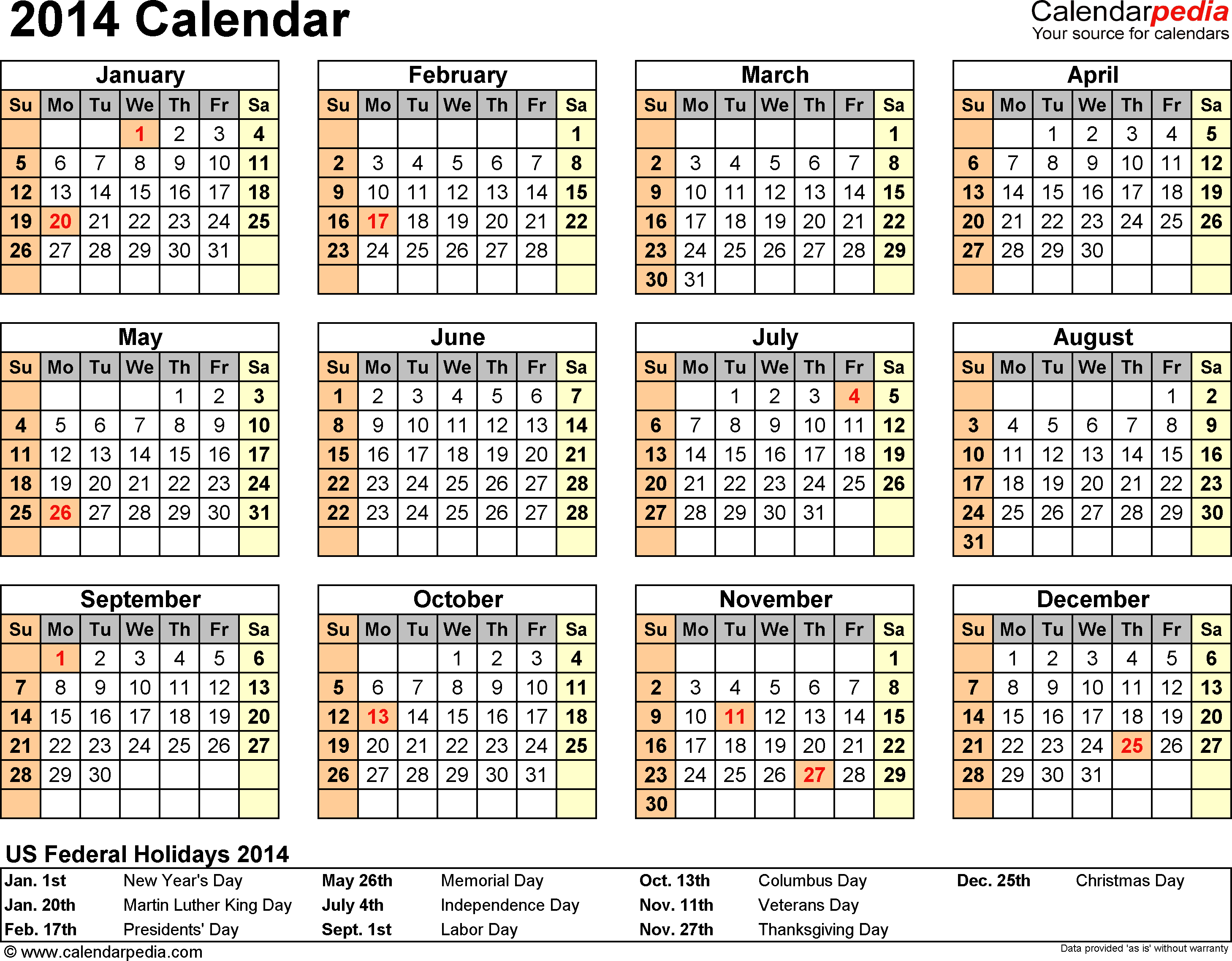2014 Calendar  13 Free Printable Word Calendar Templates inside 2020 Calendar Qatar Printable