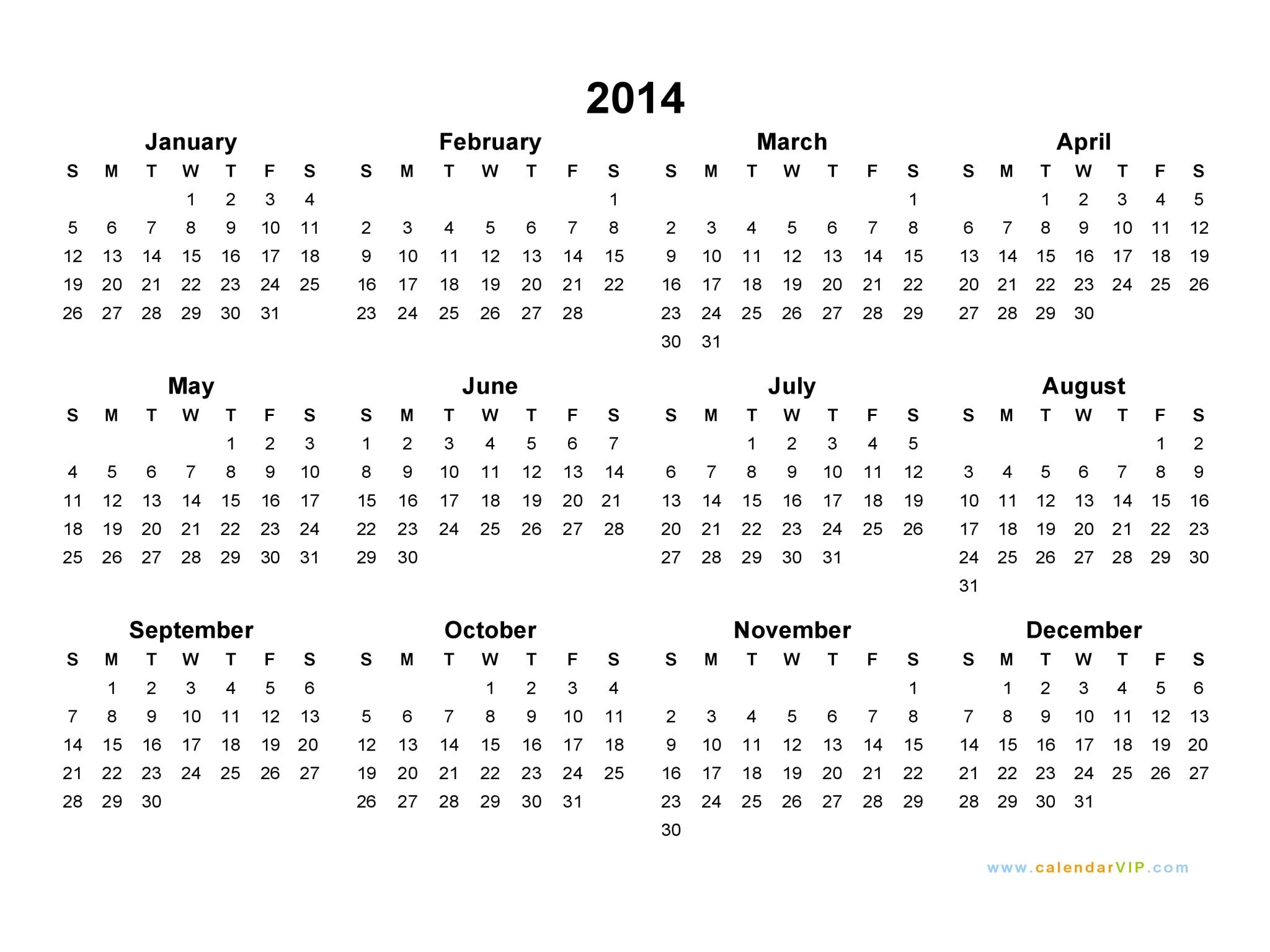 2014 Calendar  Blank Printable Calendar Template In Pdf intended for Blank Calendar 2014