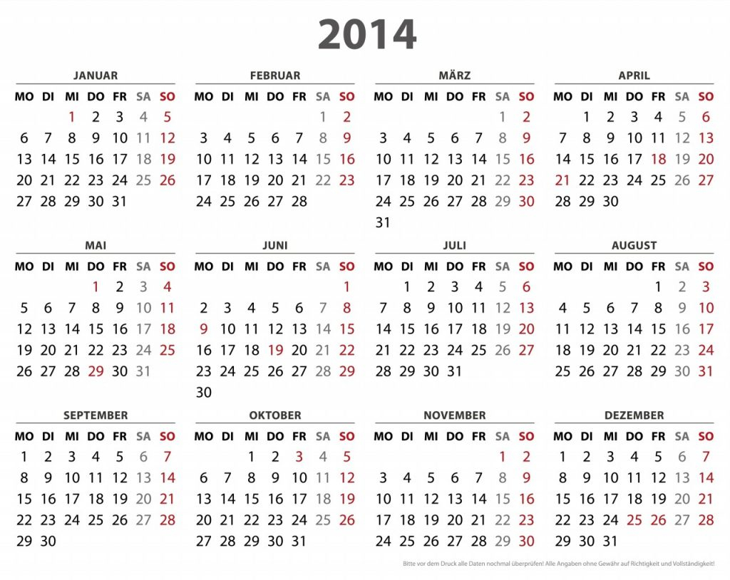 2014 Calendar – Calendar Yearly Printable in Calendar 2014 Printable