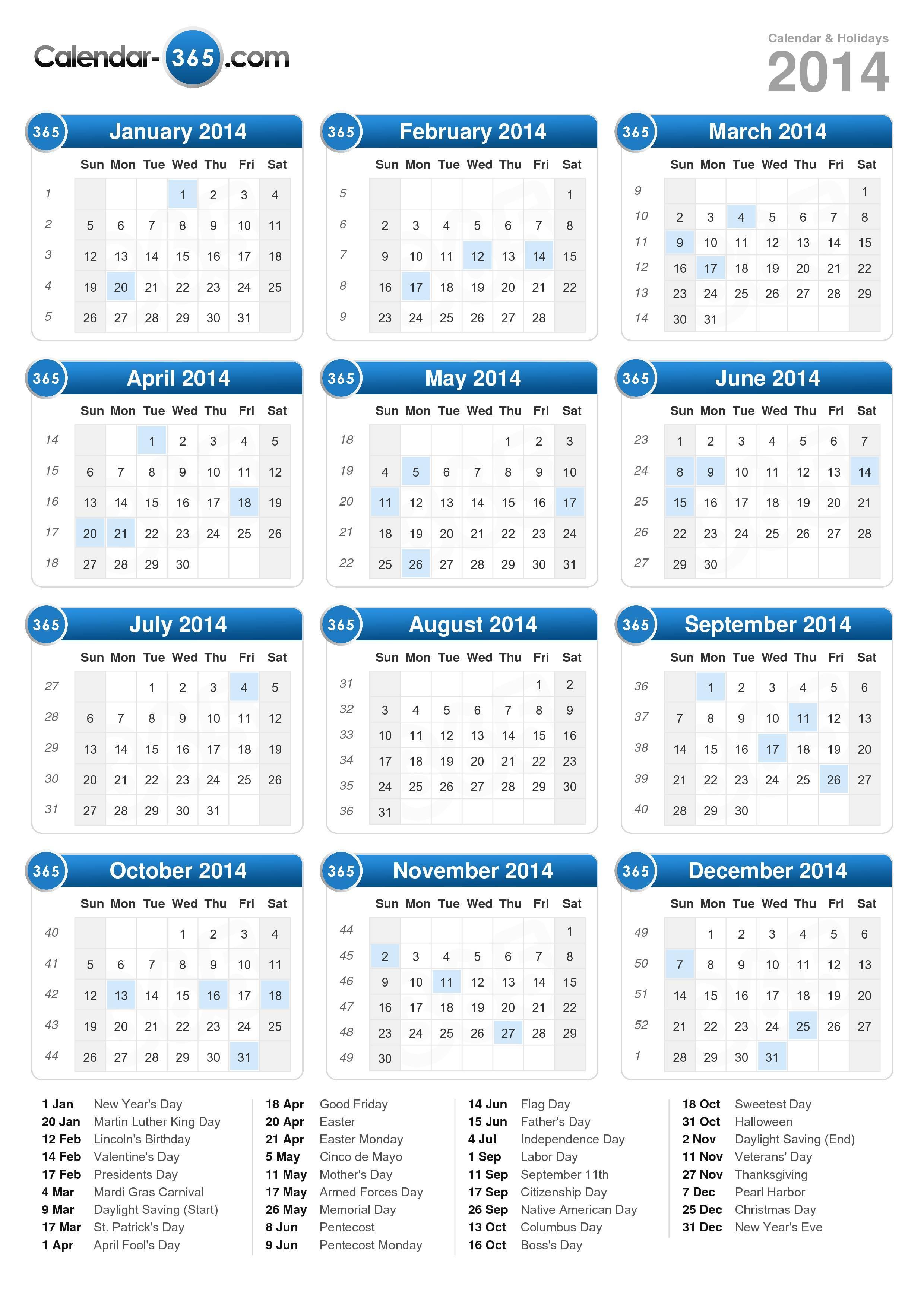 2014 Calendar in Calendar 2014 Printable