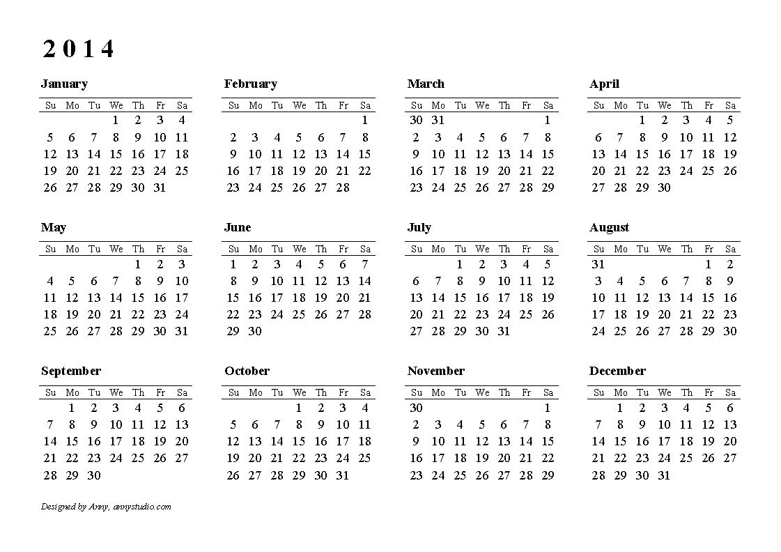 2014 Calendar Printable | Templates Free Printable pertaining to Calendar 2014 Printable
