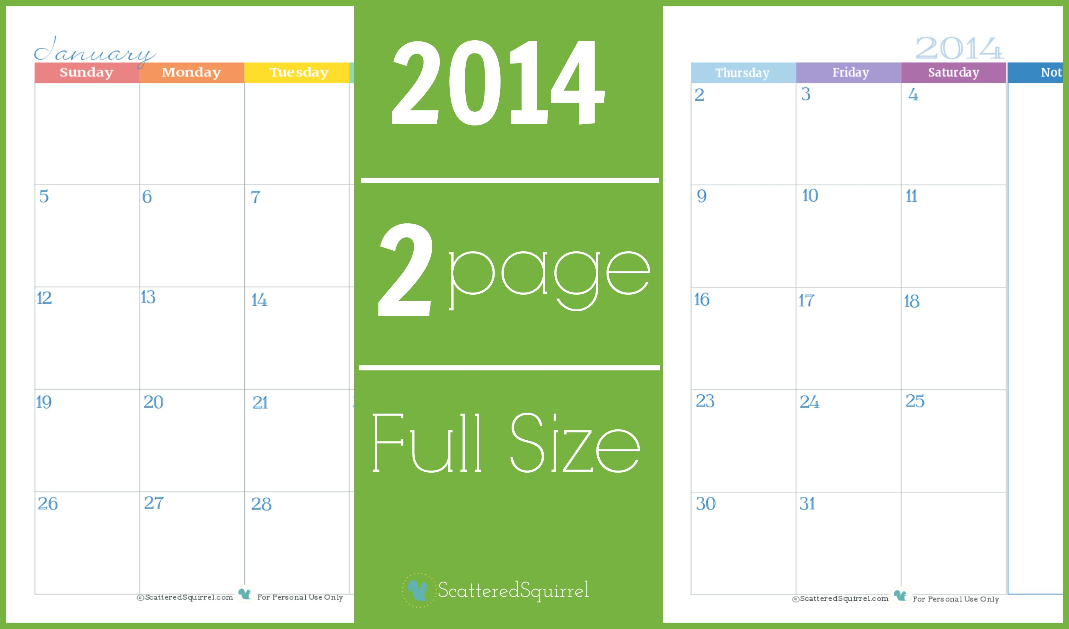 2014 Calendar: Two Page Monthly | Calendar Organization in Scattered Squirrel Calendar