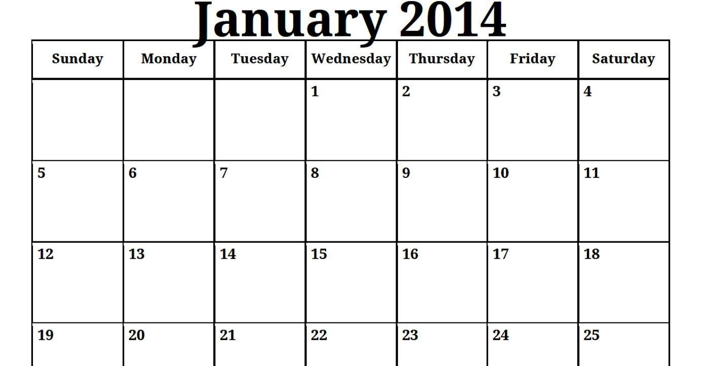 2014 Print Blank Monthly Calendar | Printable Blank Pdf in Blank Calendar 2014